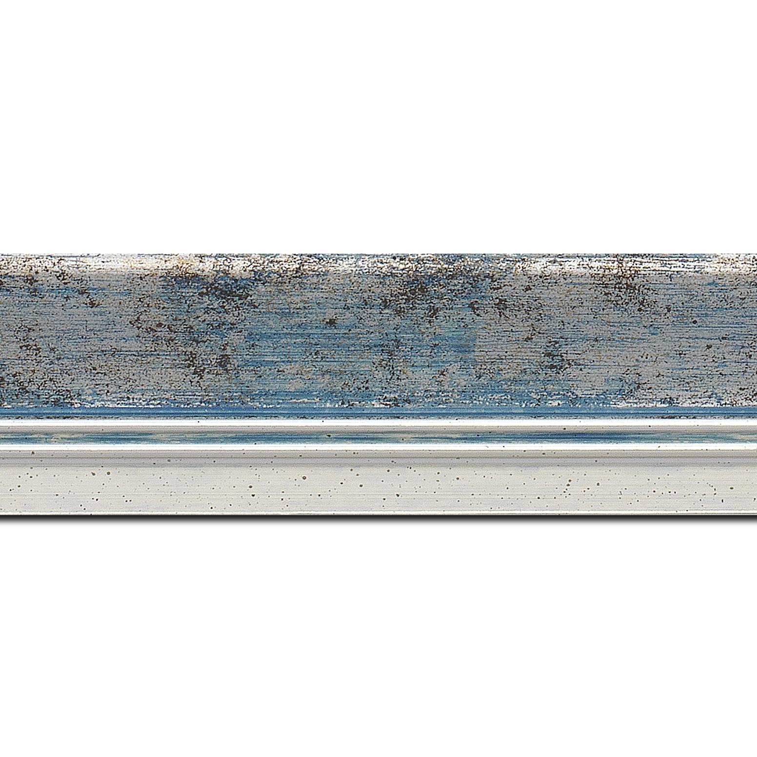 Pack par 12m, bois profil incurvé largeur 5.7cm de couleur bleu fond argent marie louise blanche mouchetée filet argent intégré(longueur baguette pouvant varier entre 2.40m et 3m selon arrivage des bois)