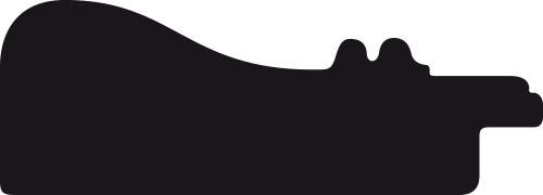 Baguette coupe droite bois profil incurvé largeur 5.7cm de couleur noir mat  marie louise blanche mouchetée filet argent intégré