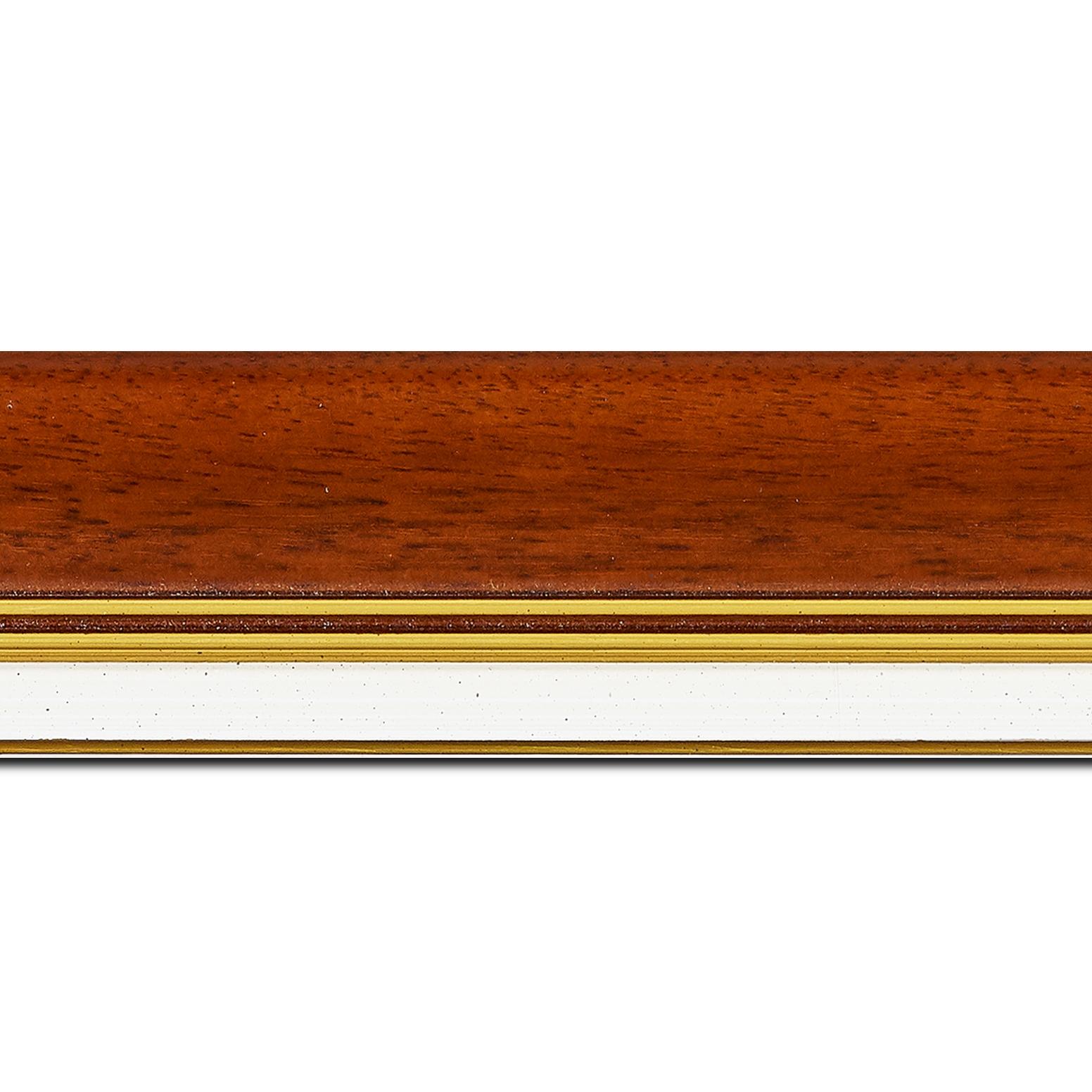Baguette longueur 1.40m bois profil incurvé largeur 5.7cm de couleur marron ton bois marie louise blanche mouchetée filet or intégré