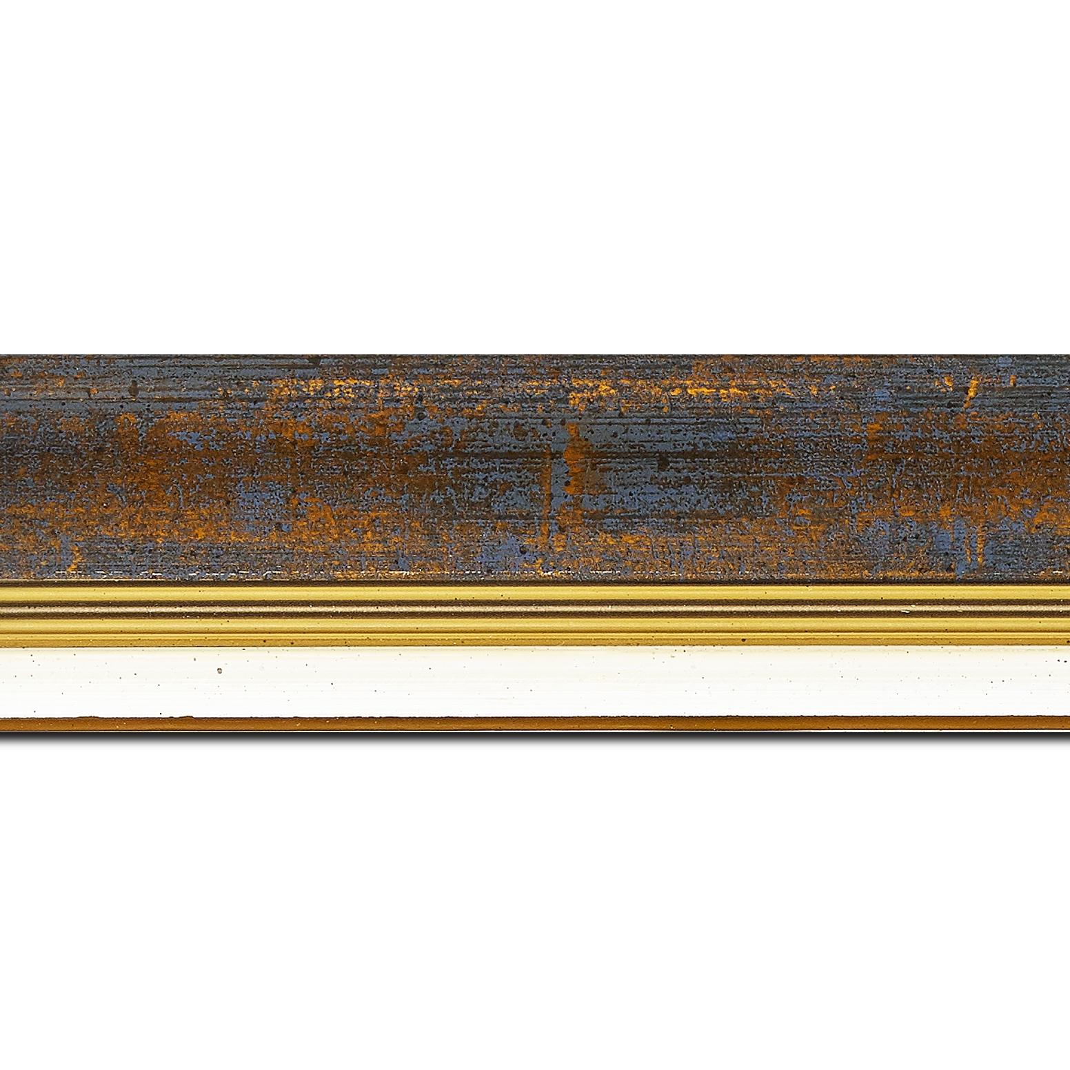 Pack par 12m, bois profil incurvé largeur 5.7cm de couleur bleu fond or marie louise blanche mouchetée filet or intégré(longueur baguette pouvant varier entre 2.40m et 3m selon arrivage des bois)