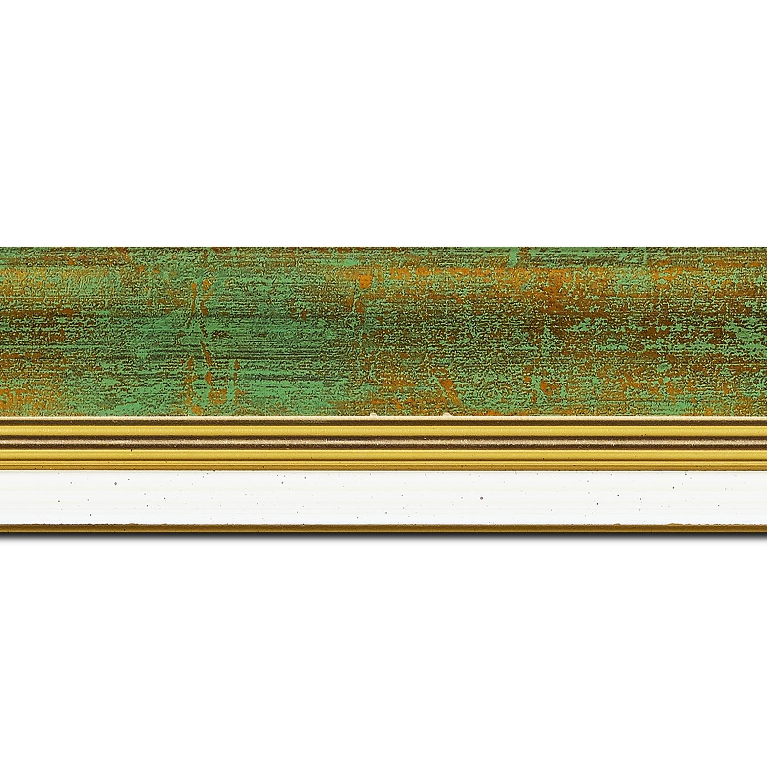 Baguette longueur 1.40m bois profil incurvé largeur 5.7cm de couleur vert fond or marie louise blanche mouchetée filet or intégré