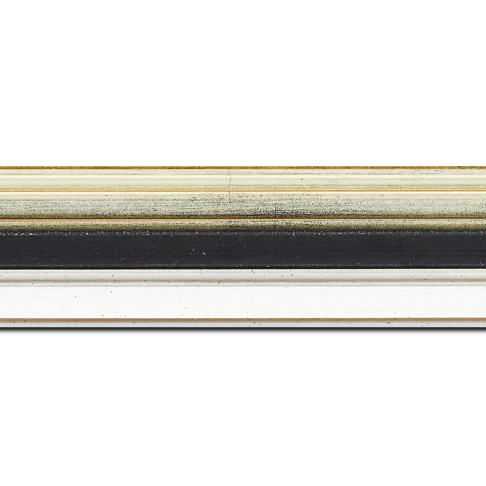 Pack par 12m, bois largeur 5.2cm argent gorge noire  marie louise blanche  filet argent intégrée(longueur baguette pouvant varier entre 2.40m et 3m selon arrivage des bois)