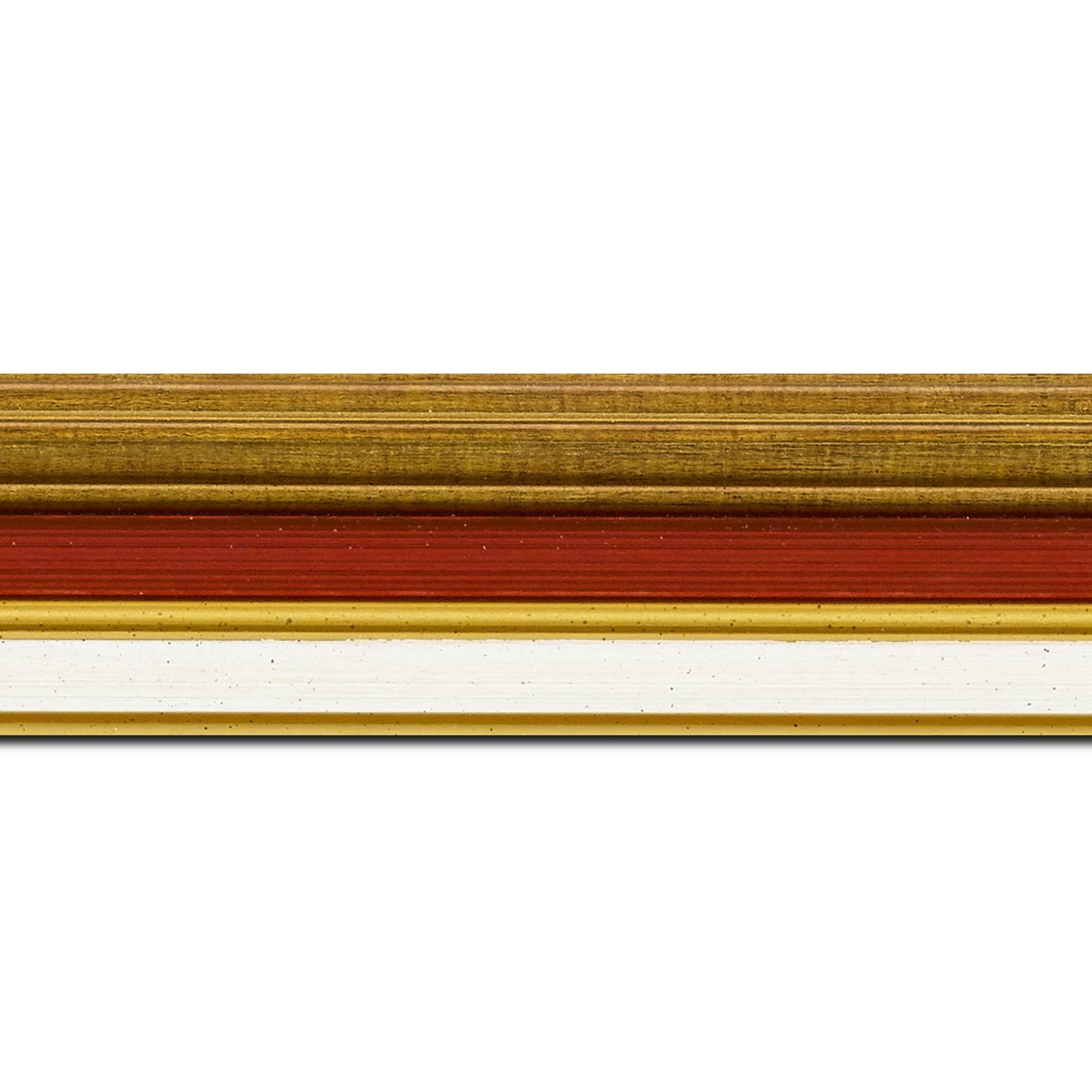 Pack par 12m, bois largeur 5.2cm or gorge bordeaux  marie louise crème filet or intégrée(longueur baguette pouvant varier entre 2.40m et 3m selon arrivage des bois)