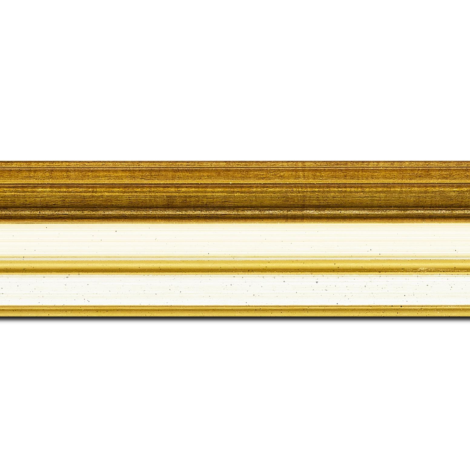 Pack par 12m, bois largeur 5.2cm or gorge crème  marie louise crème filet or intégrée(longueur baguette pouvant varier entre 2.40m et 3m selon arrivage des bois)