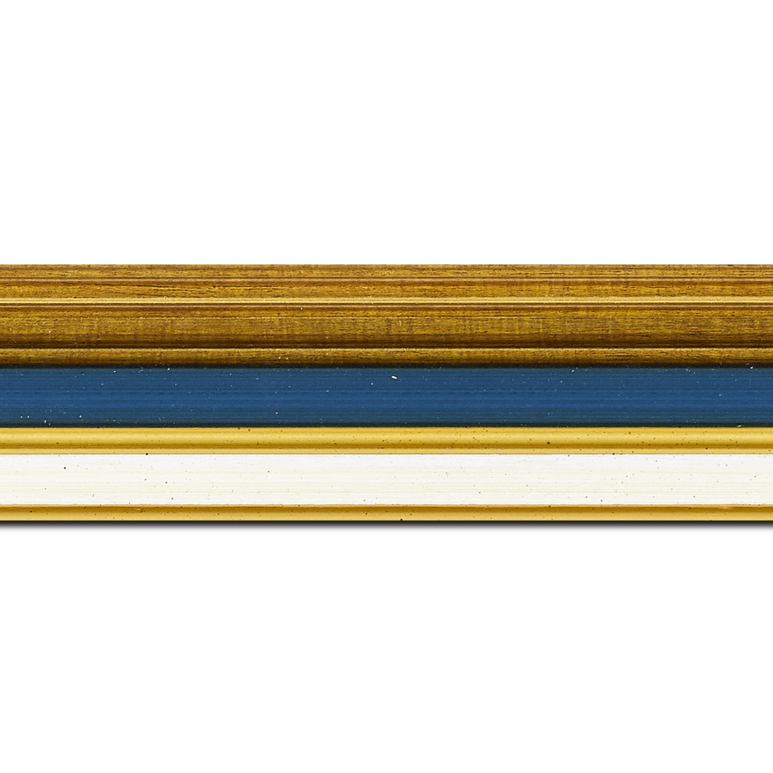 Pack par 12m, bois largeur 5.2cm or gorge bleue nuit  marie louise crème filet or intégrée(longueur baguette pouvant varier entre 2.40m et 3m selon arrivage des bois)