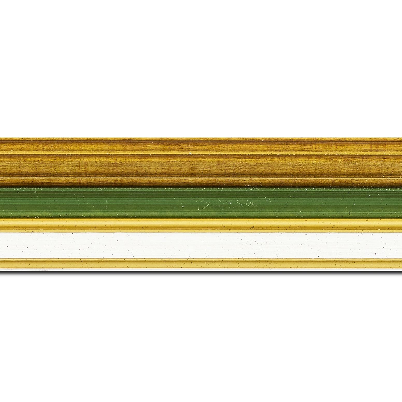 Pack par 12m, bois largeur 5.2cm or gorge verte  marie louise crème filet or intégrée(longueur baguette pouvant varier entre 2.40m et 3m selon arrivage des bois)