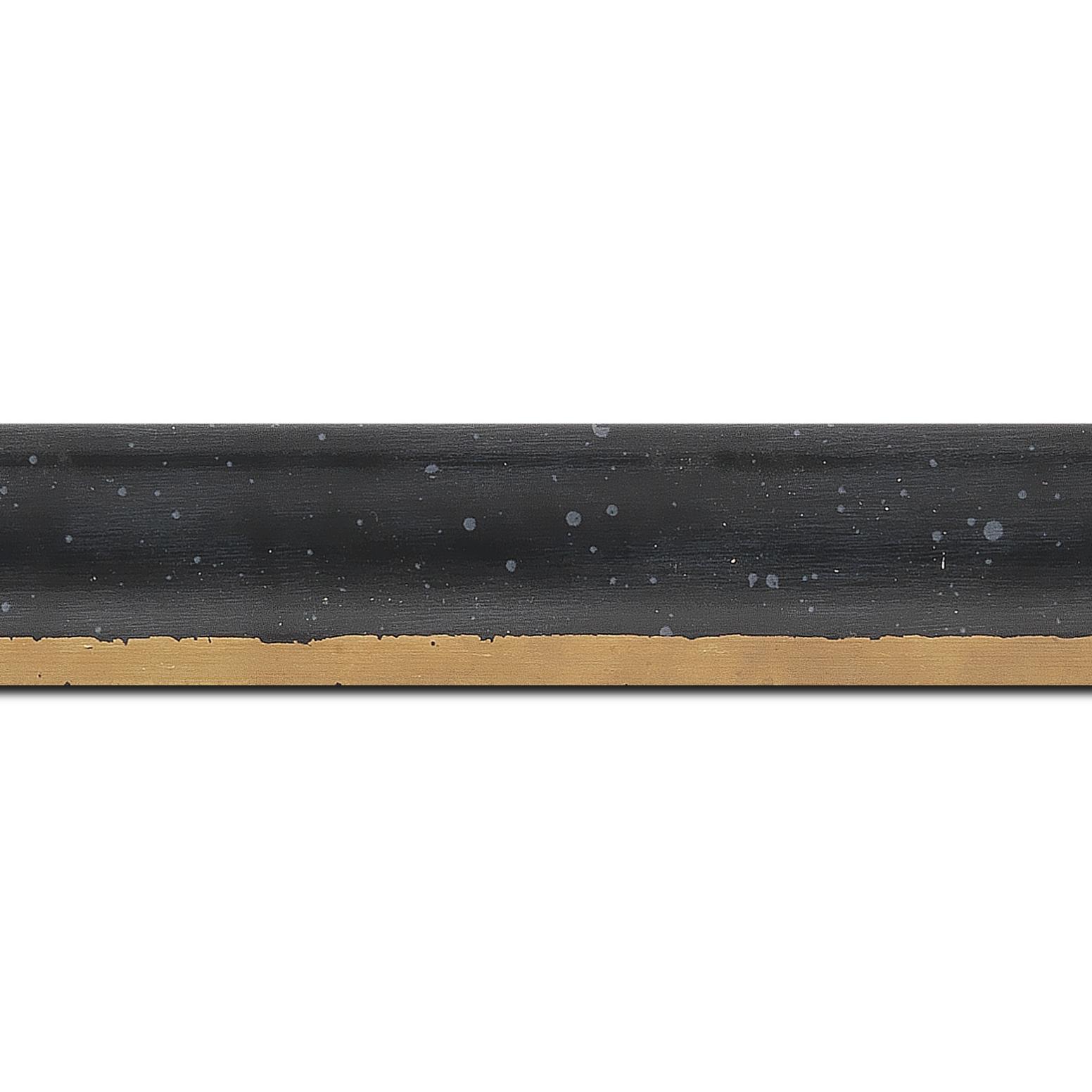 Baguette longueur 1.40m bois profil incurvé largeur 3.9cm noir tamisé filet or