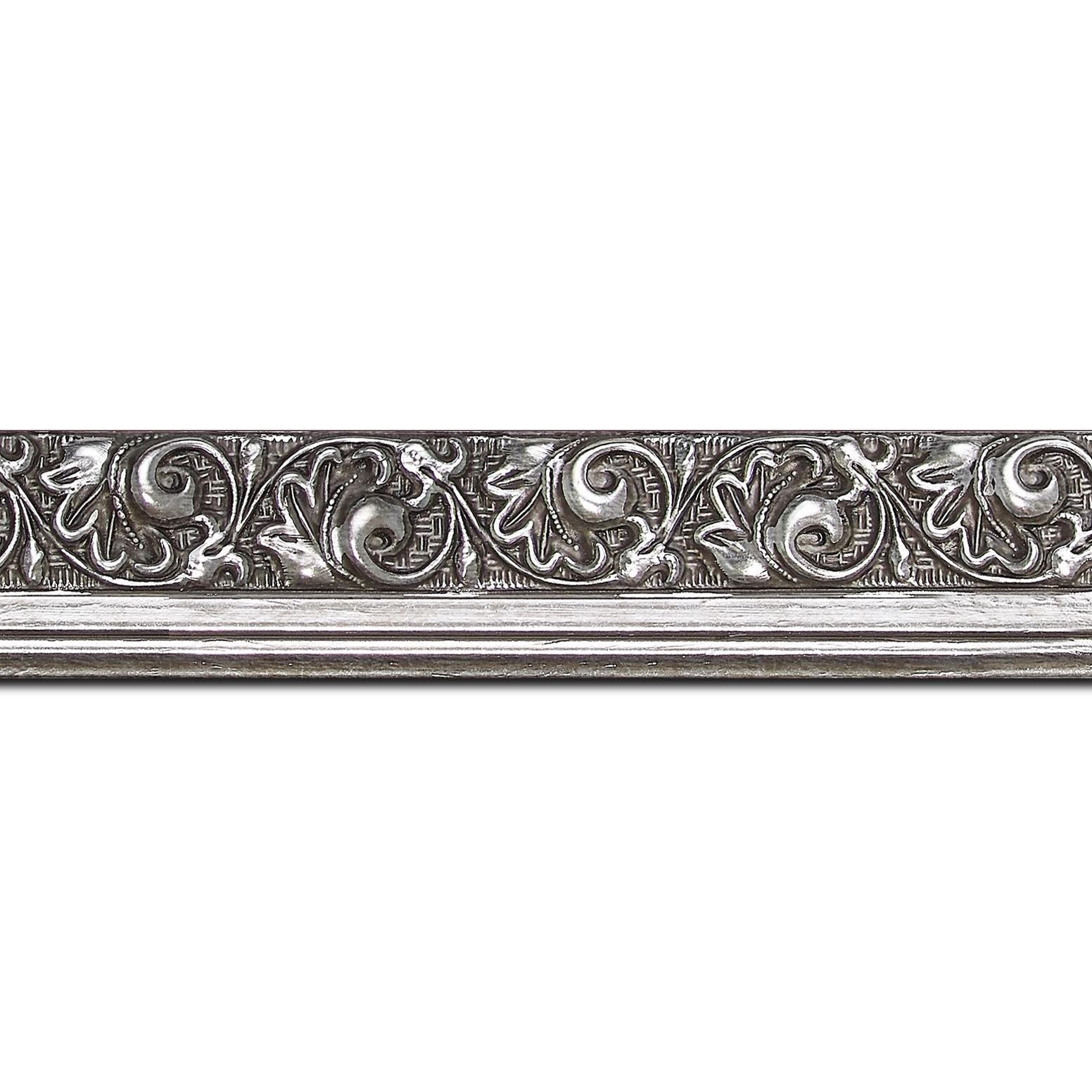 Baguette longueur 1.40m bois profil plat largeur 3.5cm argent froid antique satiné décor frise