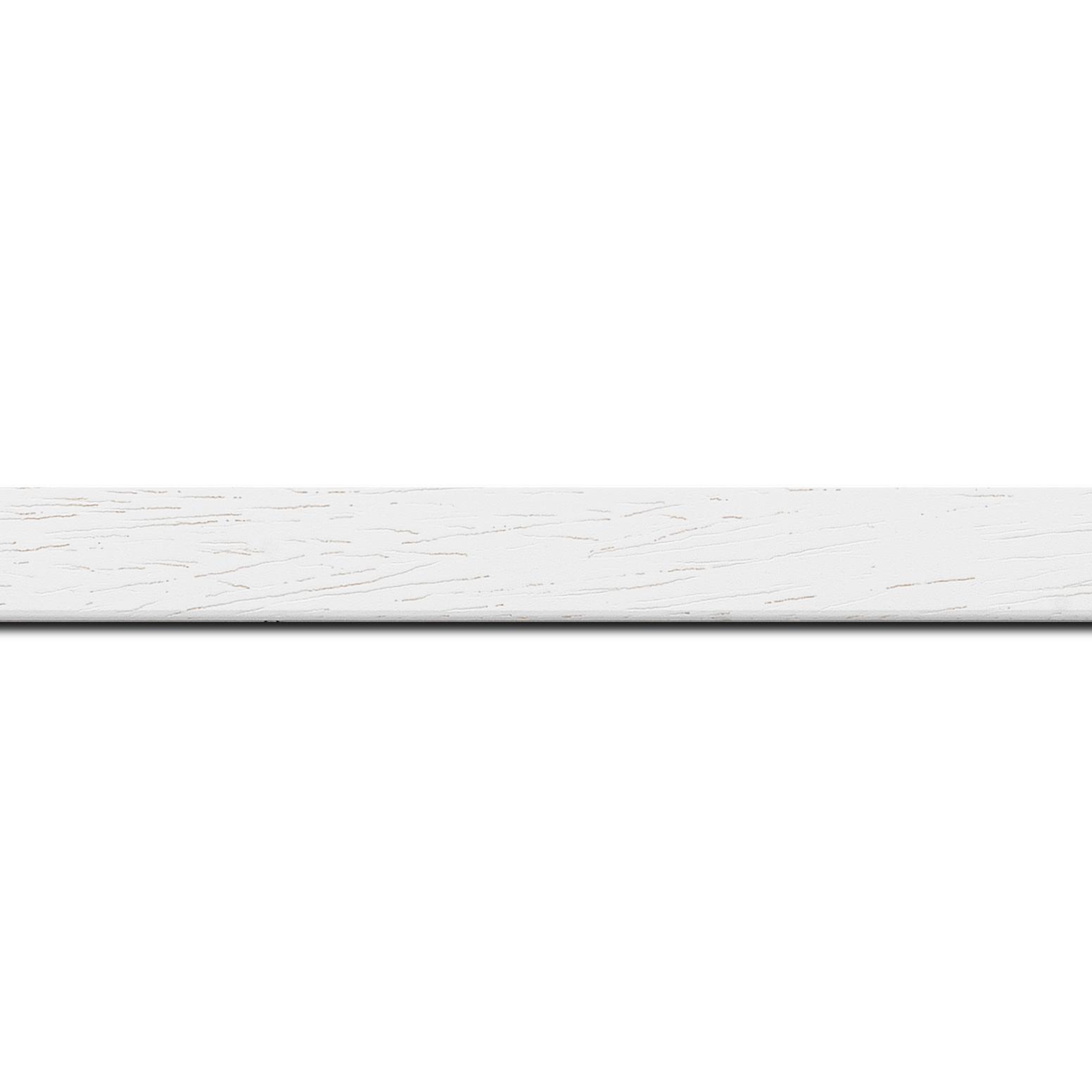 Baguette longueur 1.40m bois profil plat largeur 2cm couleur blanc satiné