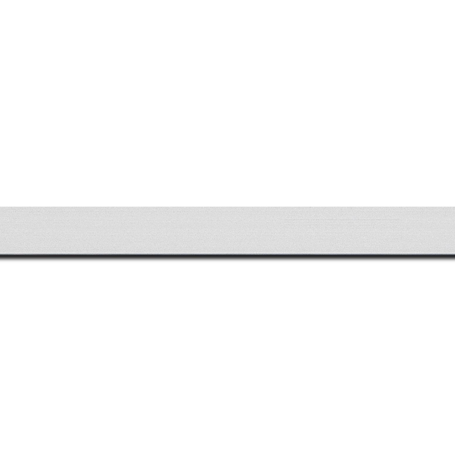 Baguette longueur 1.40m bois recouvert aluminium profil plat largeur 1.6cm argent brossé  bord droit