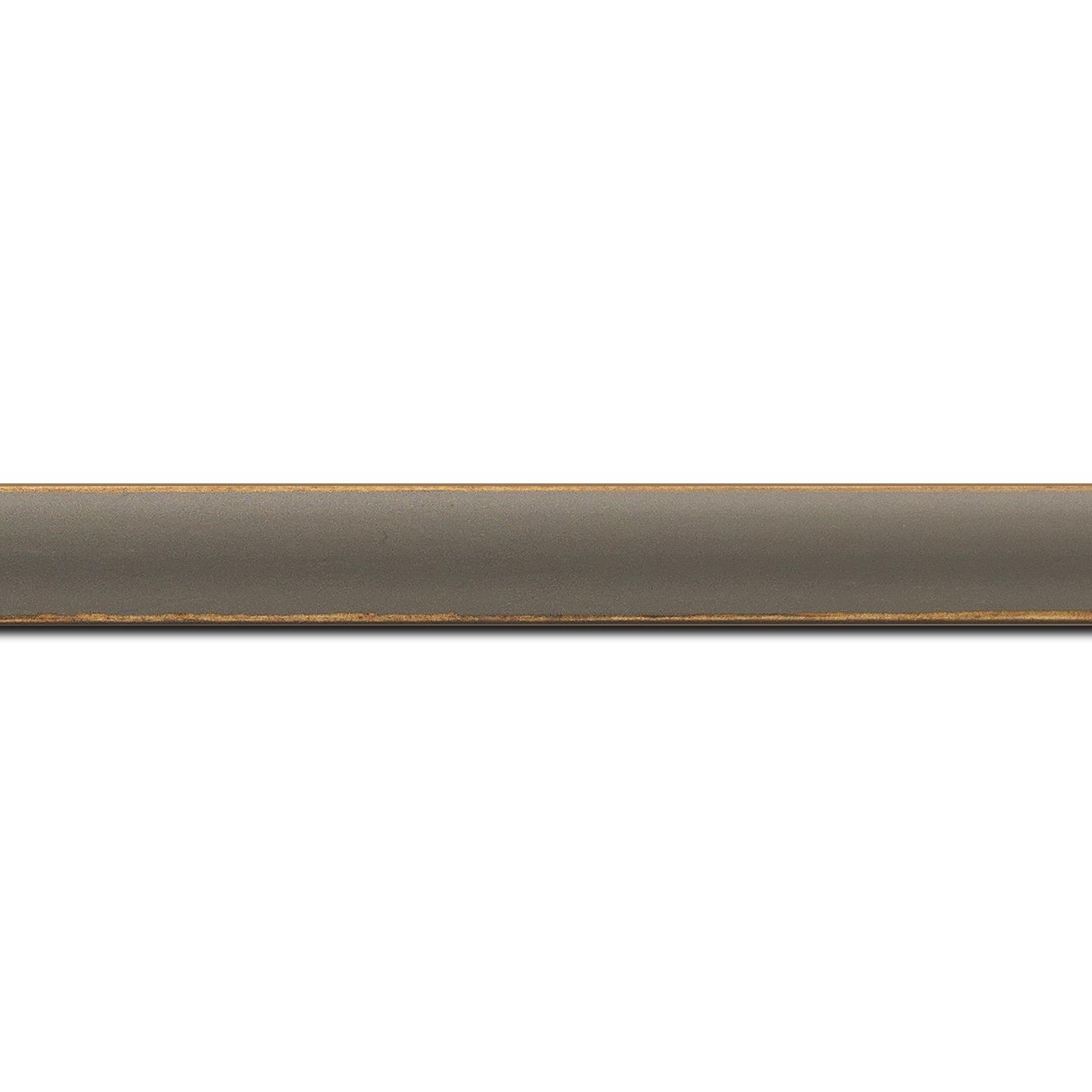 Baguette longueur 1.40m bois profil incurvé largeur 1.9cm couleur gris foncé mat bord ressuyé