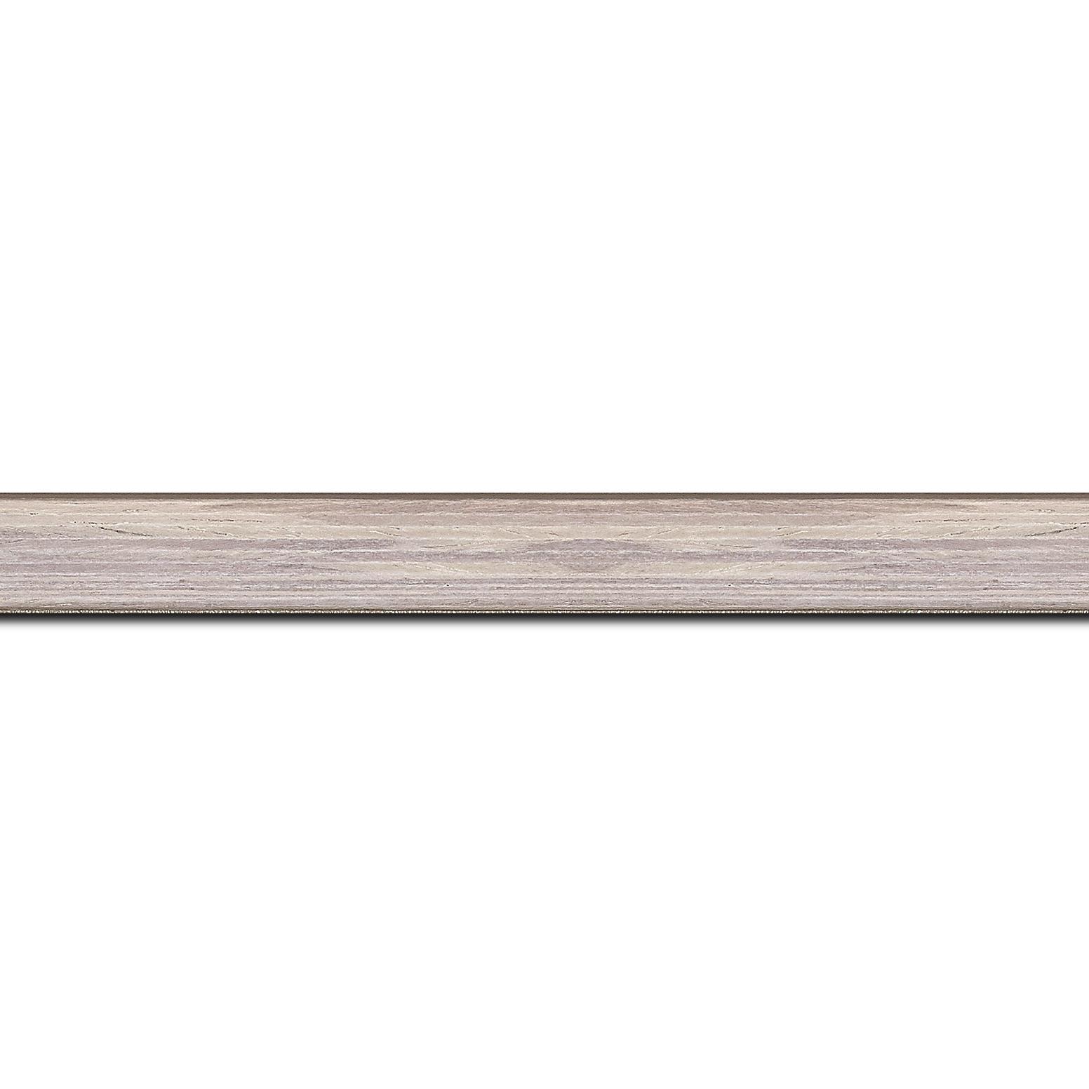 Pack par 12m, bois profil plat largeur 1.5cm  plaquage bois gris blanchi haut de gamme(longueur baguette pouvant varier entre 2.40m et 3m selon arrivage des bois)