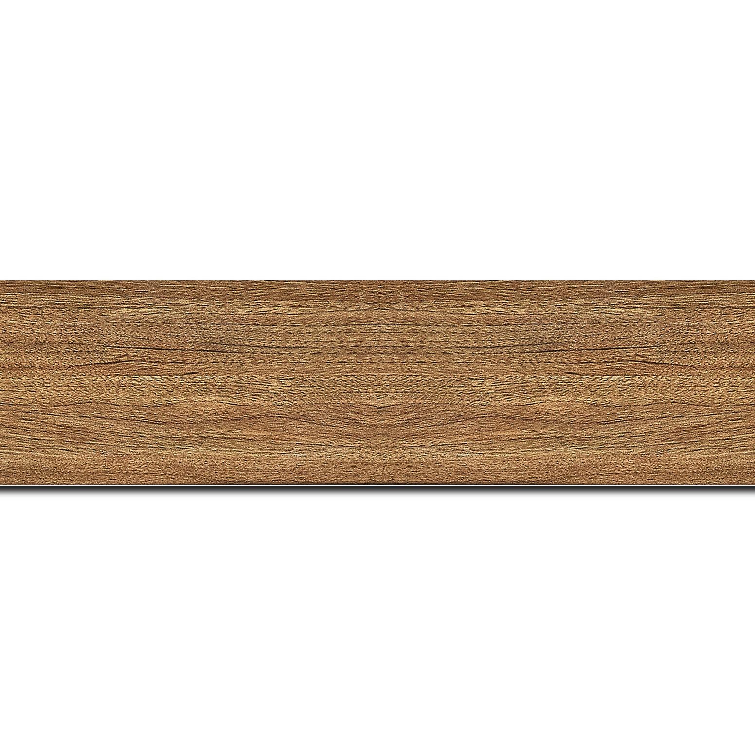 Pack par 12m, bois profil plat largeur 4.2cm décor bois chêne doré(longueur baguette pouvant varier entre 2.40m et 3m selon arrivage des bois)