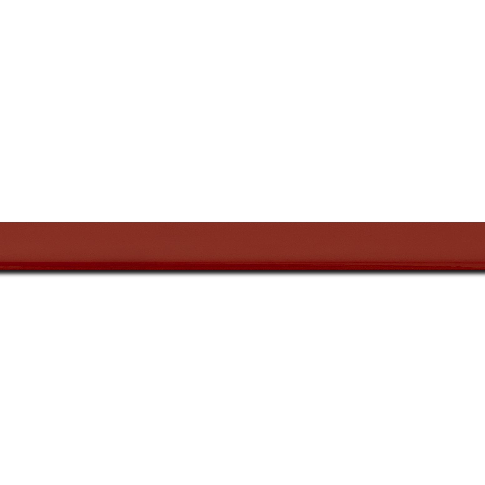 Pack par 12m, bois profil méplat largeur 1.4cm couleur rouge laqué (longueur baguette pouvant varier entre 2.40m et 3m selon arrivage des bois)