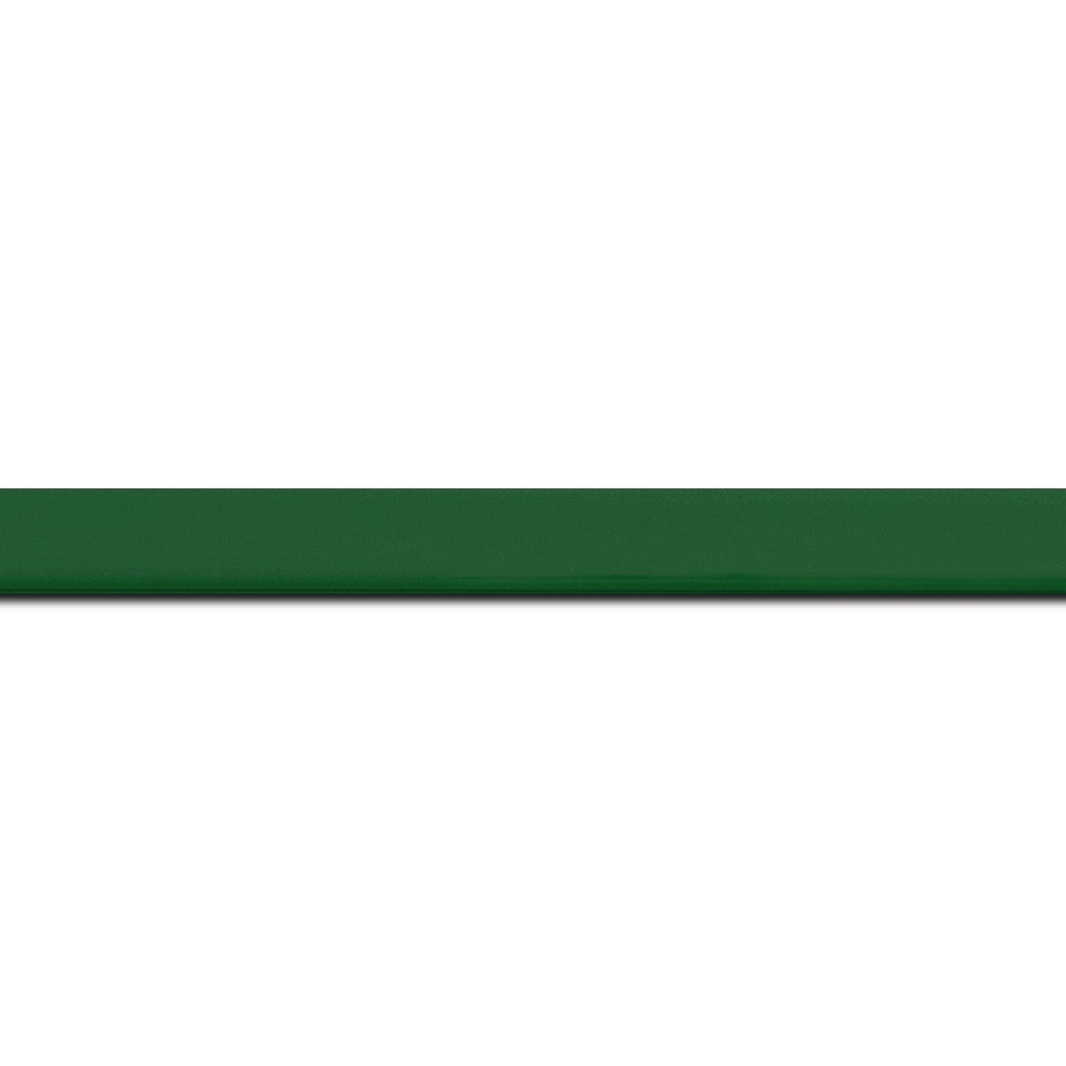 Baguette longueur 1.40m bois profil méplat largeur 1.4cm couleur vert anglais laqué