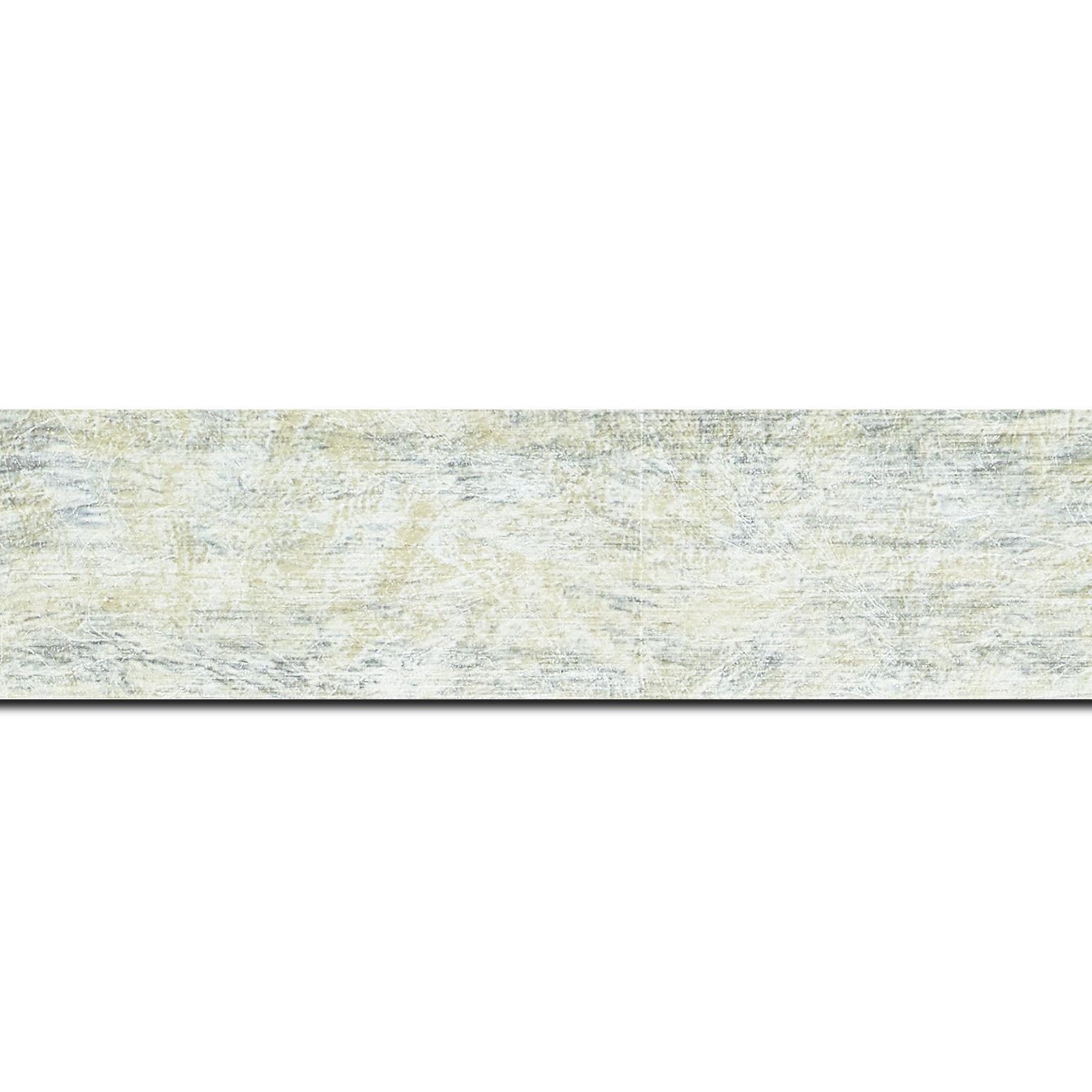 Baguette longueur 1.40m bois profil plat largeur 4cm argent chaud effet marbré
