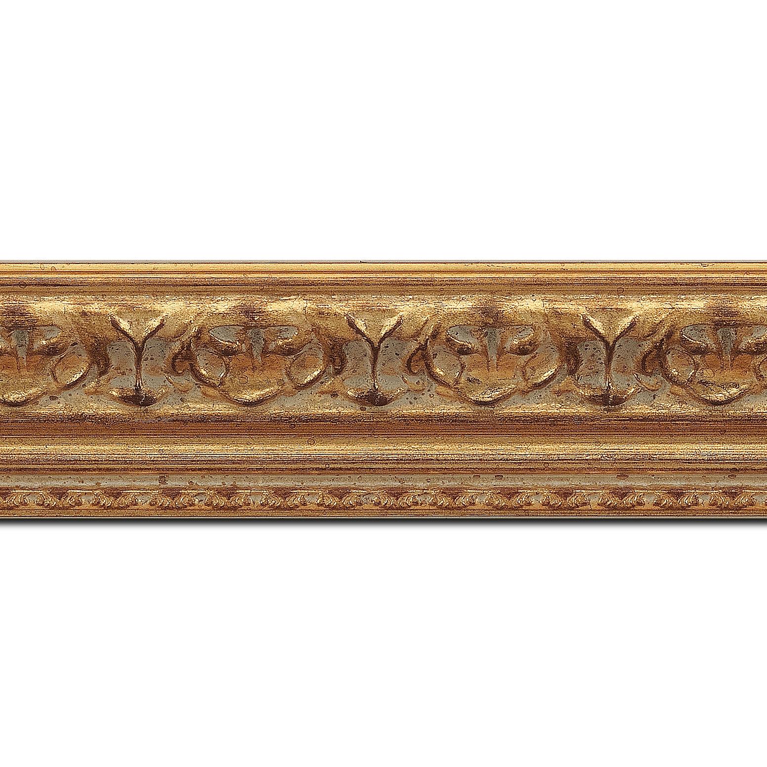 Baguette longueur 1.40m bois profil incurvé largeur 5.1cm or antique à la feuille style