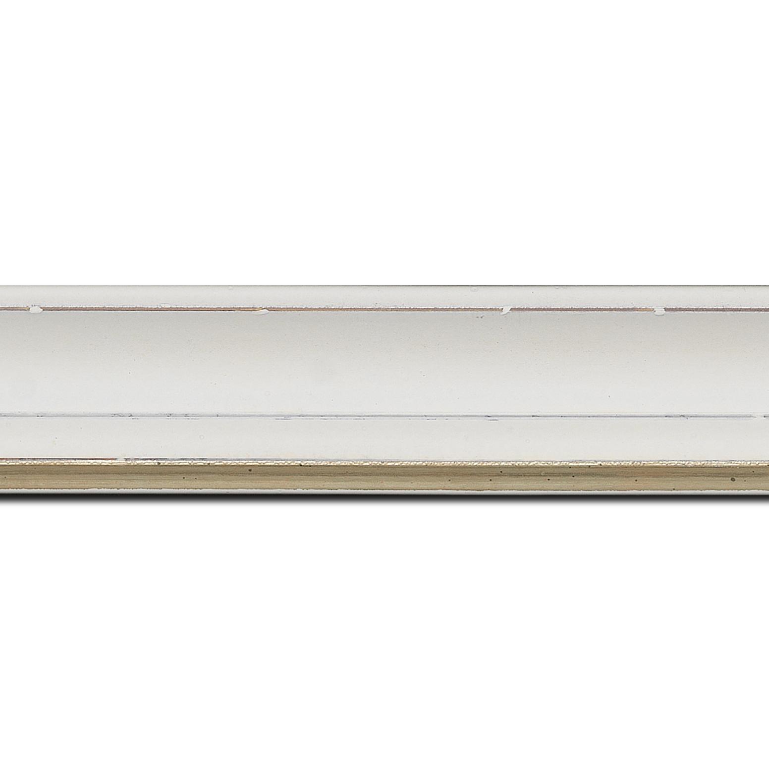 Baguette longueur 1.40m bois profil incurvé largeur 4.2cm couleur ivoire filet or fondu finition nature