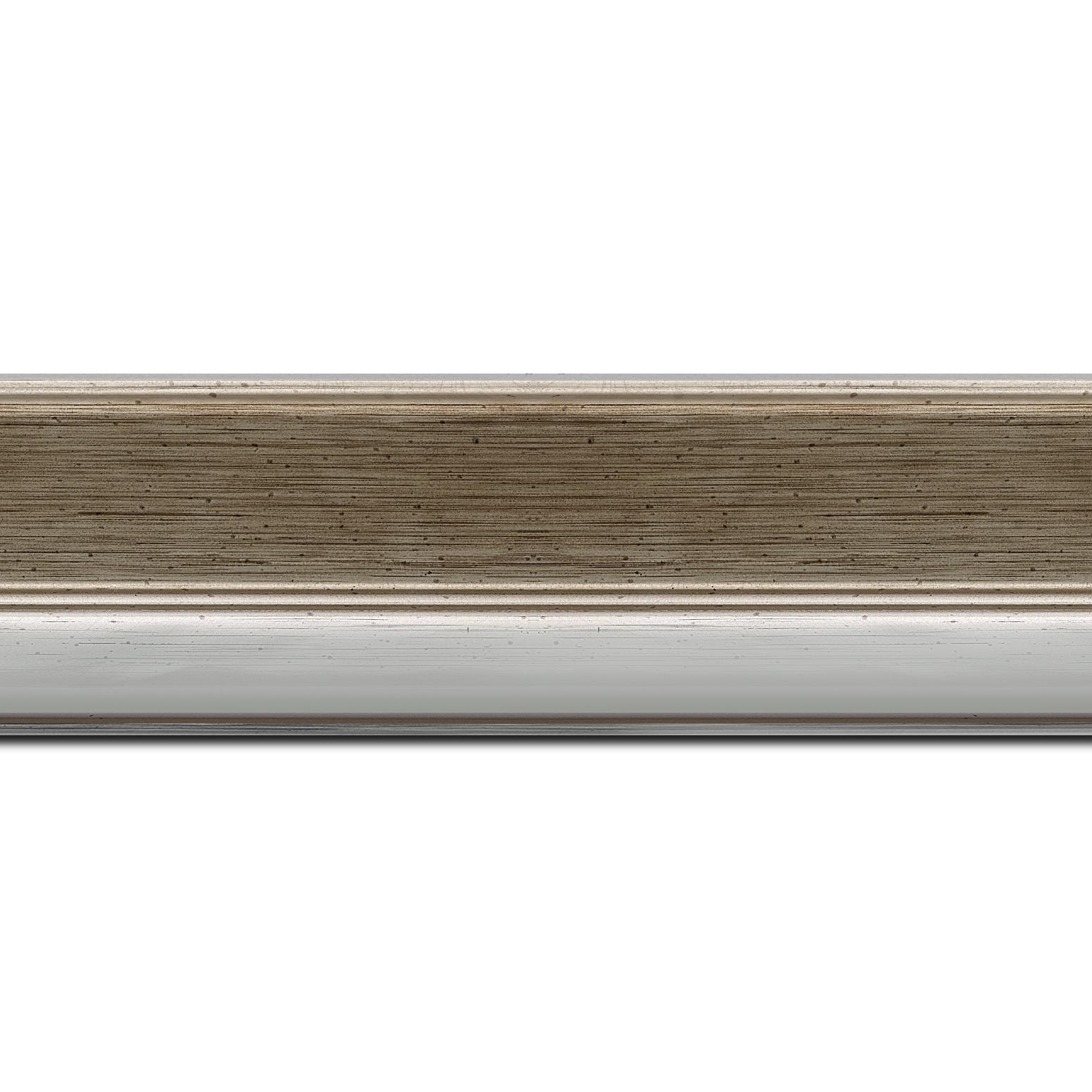 Baguette longueur 1.40m bois profil plat largeur 5cm champagne nez argent chromé bosselé
