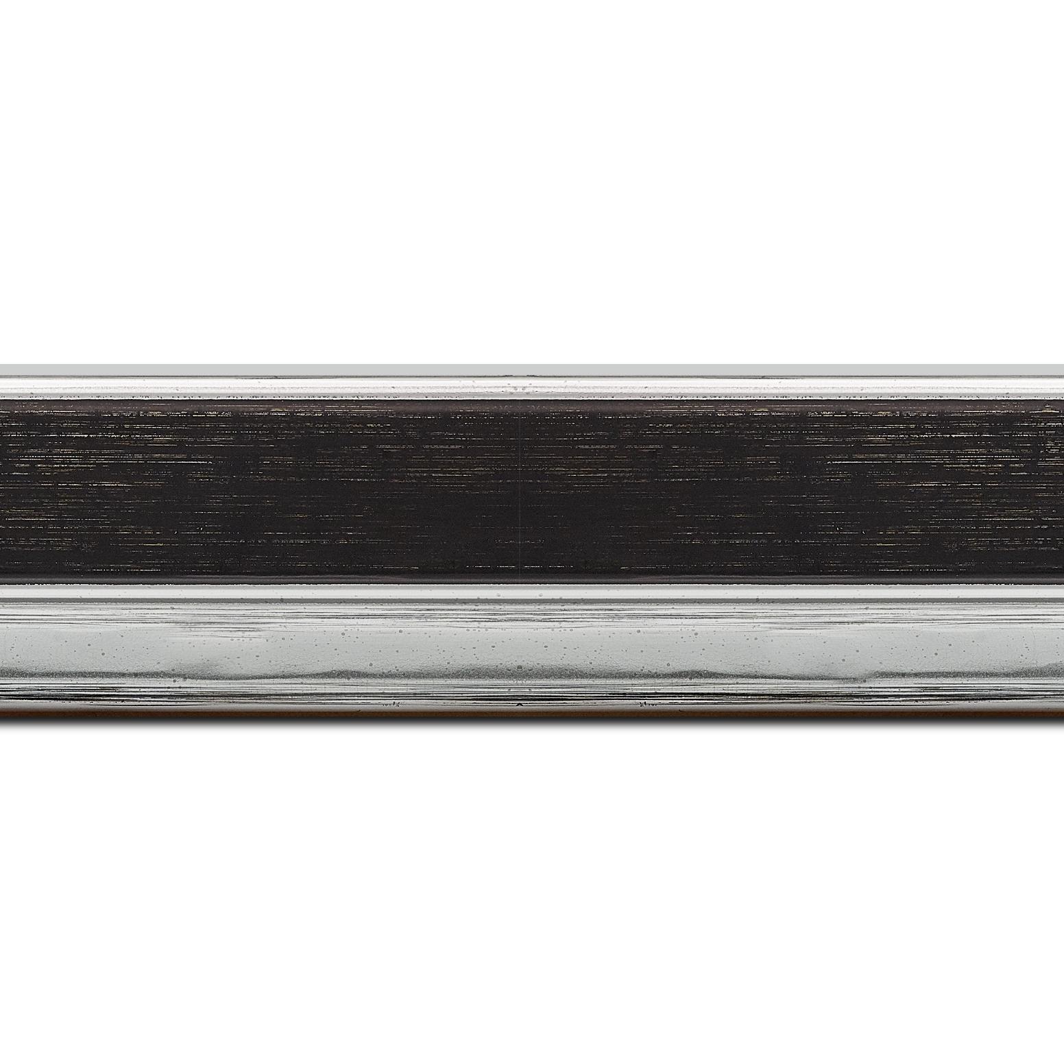 Baguette longueur 1.40m bois profil plat largeur 5cm couleur noir nez argent chromé bosselé