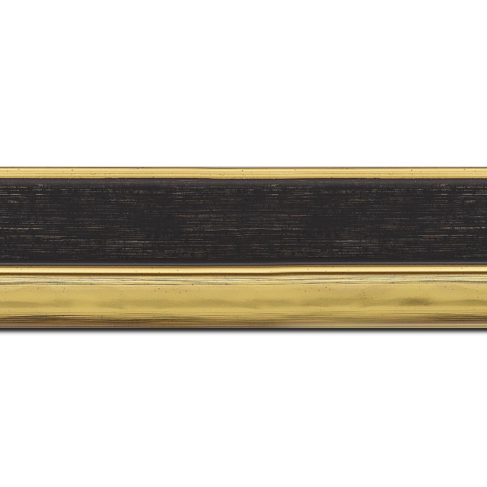 Baguette longueur 1.40m bois profil plat largeur 5cm couleur noir nez or chromé bosselé