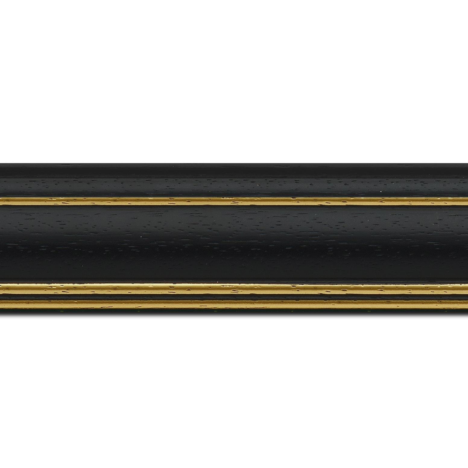 Pack par 12m, bois profil bombé largeur 5cm couleur noir satiné filet or (longueur baguette pouvant varier entre 2.40m et 3m selon arrivage des bois)