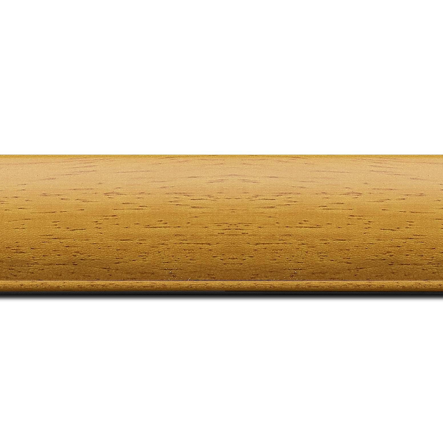 Baguette longueur 1.40m bois profil arrondi largeur 4.7cm couleur jaune tournesol satiné rehaussé d'un filet noir