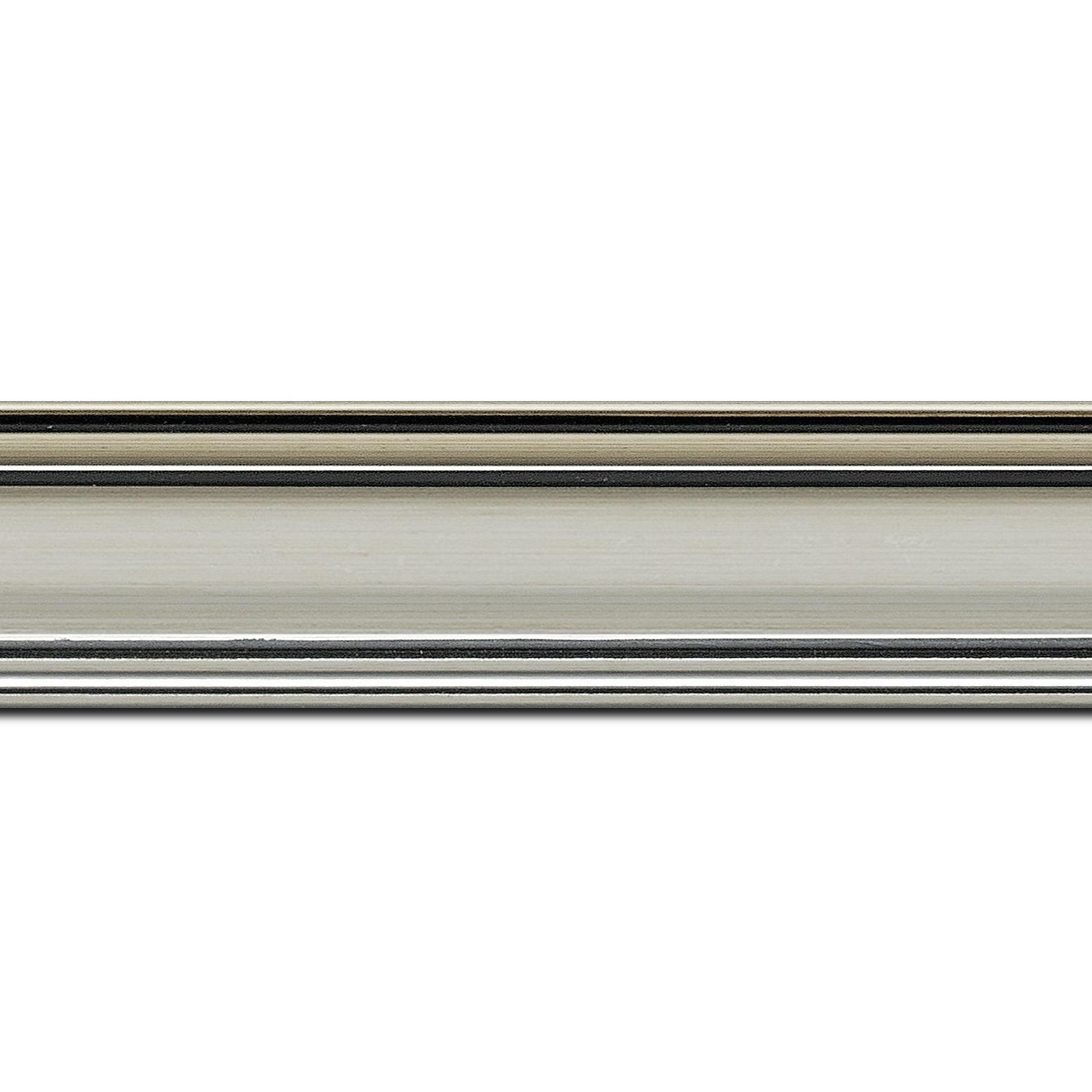 Pack par 12m, bois profil bombé largeur 5cm couleur argent chaud filet noir (longueur baguette pouvant varier entre 2.40m et 3m selon arrivage des bois)