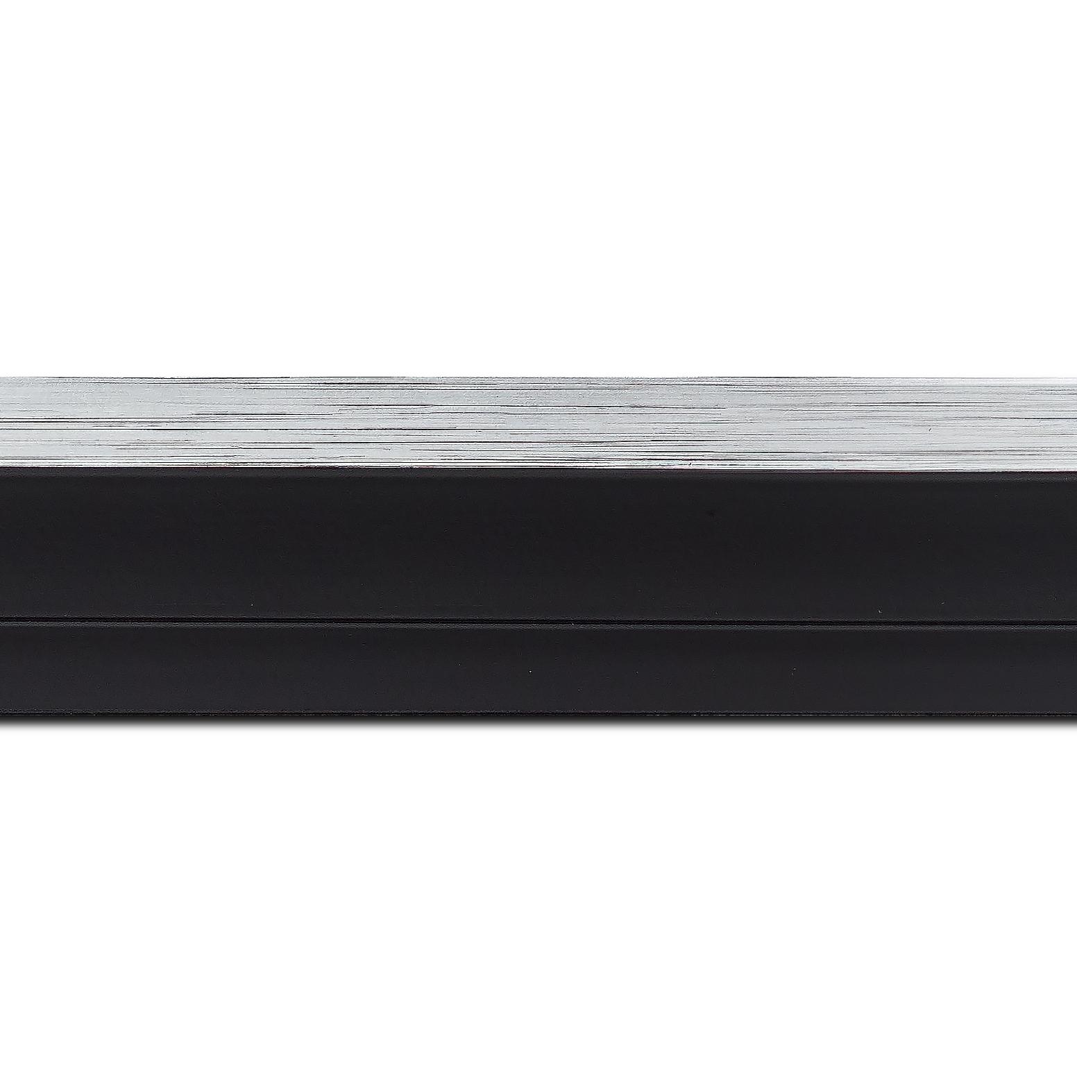 Baguette longueur 1.40m bois caisse américaine xl profil escalier largeur 4.9cm noir mat  filet argent (spécialement conçu pour les châssis 3d d'une épaisseur de 3 à 4cm)