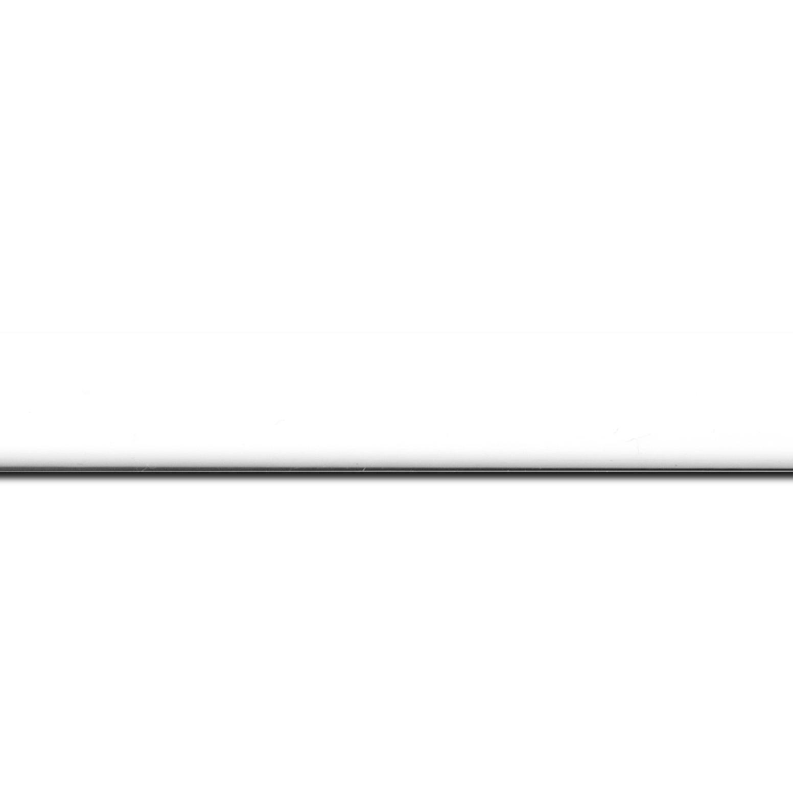 Baguette longueur 1.40m bois profil méplat largeur 2.3cm couleur blanc laqué