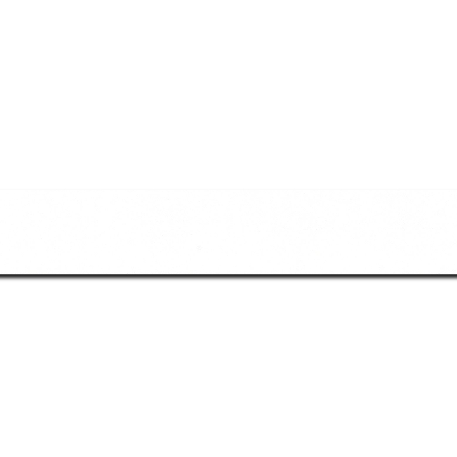 Baguette longueur 1.40m bois profil plat largeur 3cm couleur blanc mat finition pore bouché effet cube (le sujet qui sera glissé dans le cadre sera en retrait de la face du cadre de 1.4cm assurant un effet très contemporain)