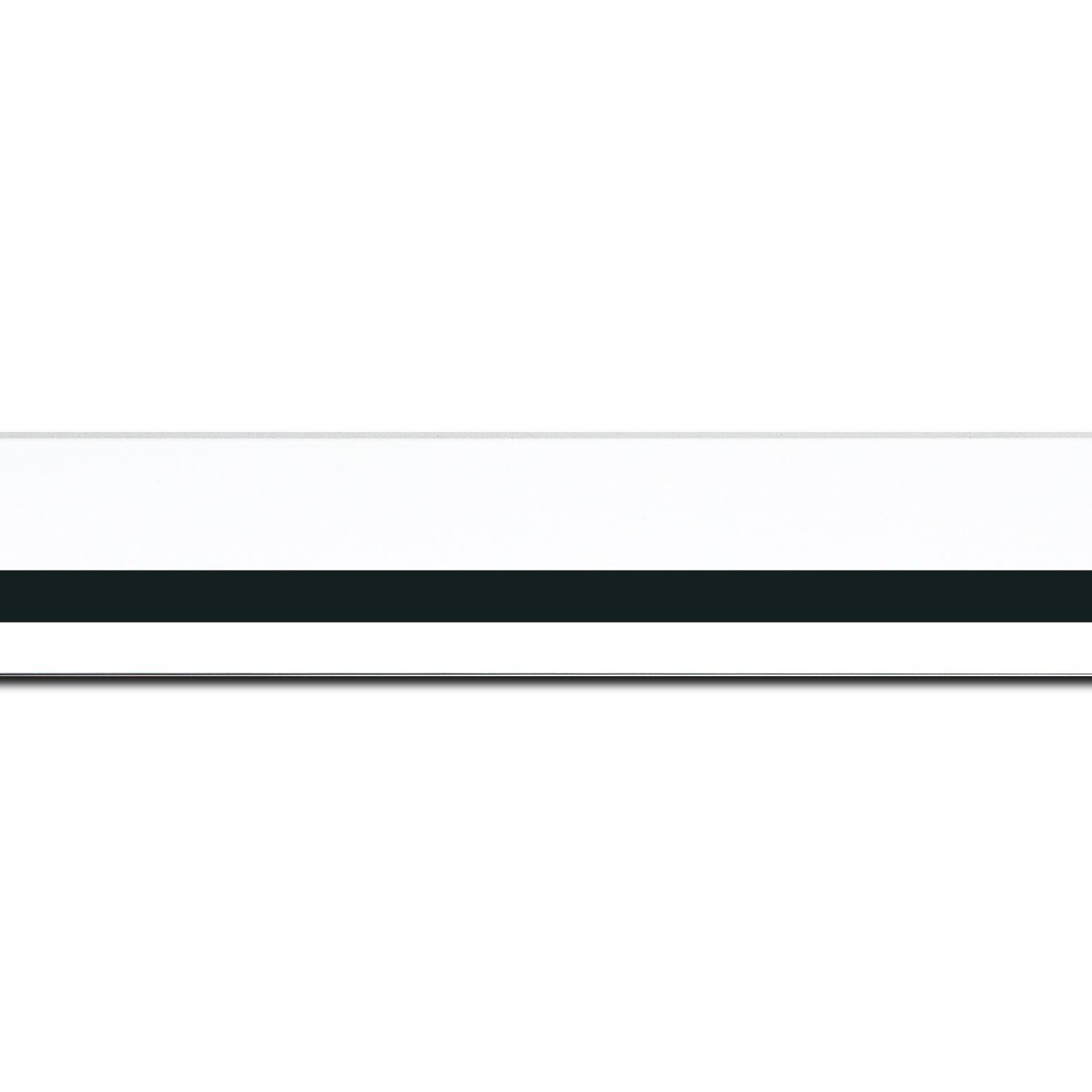 Pack par 12m, bois profil pente largeur 4.5cm de couleur blanc mat filet noir (longueur baguette pouvant varier entre 2.40m et 3m selon arrivage des bois)