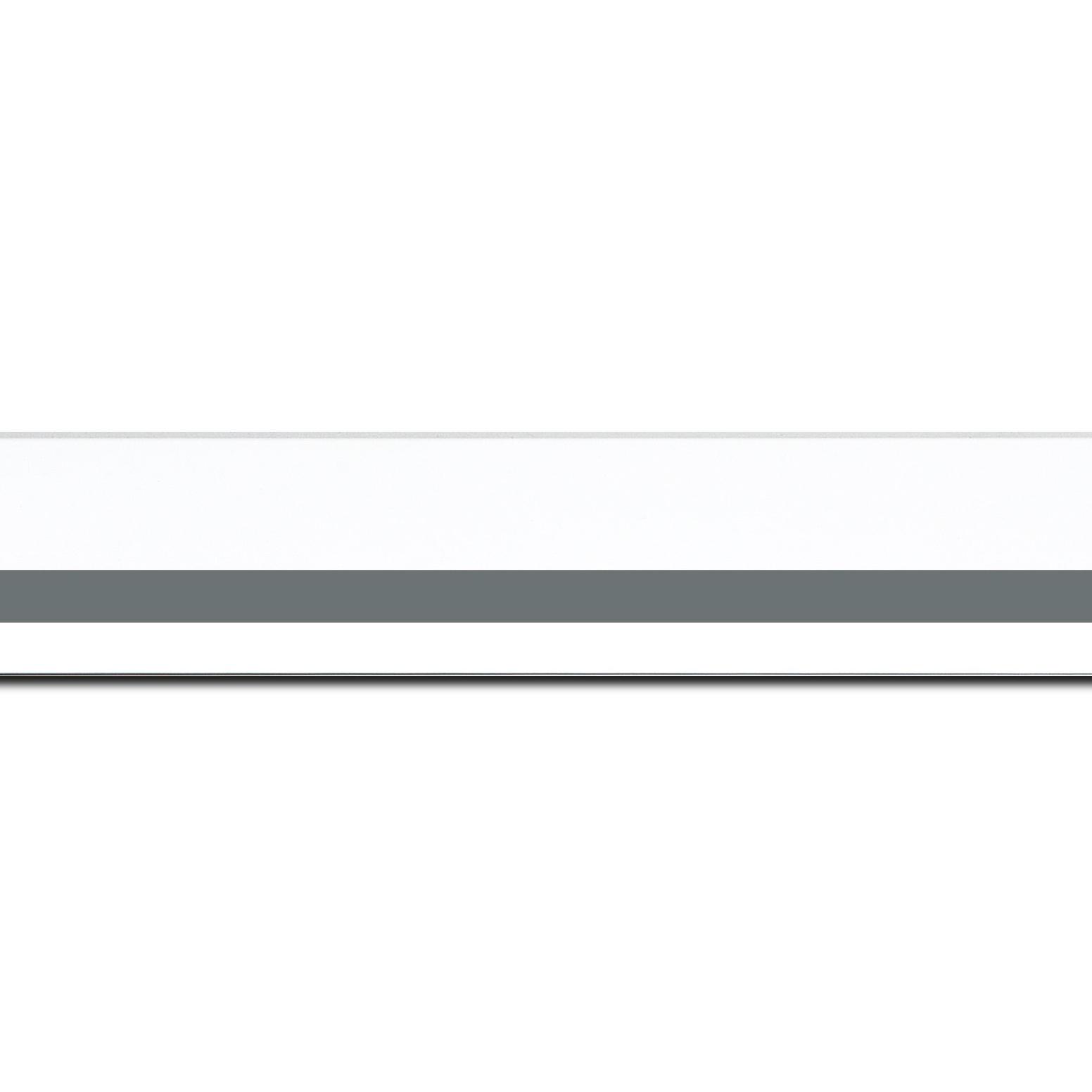 Pack par 12m, bois profil pente largeur 4.5cm de couleur blanc mat filet gris  (longueur baguette pouvant varier entre 2.40m et 3m selon arrivage des bois)