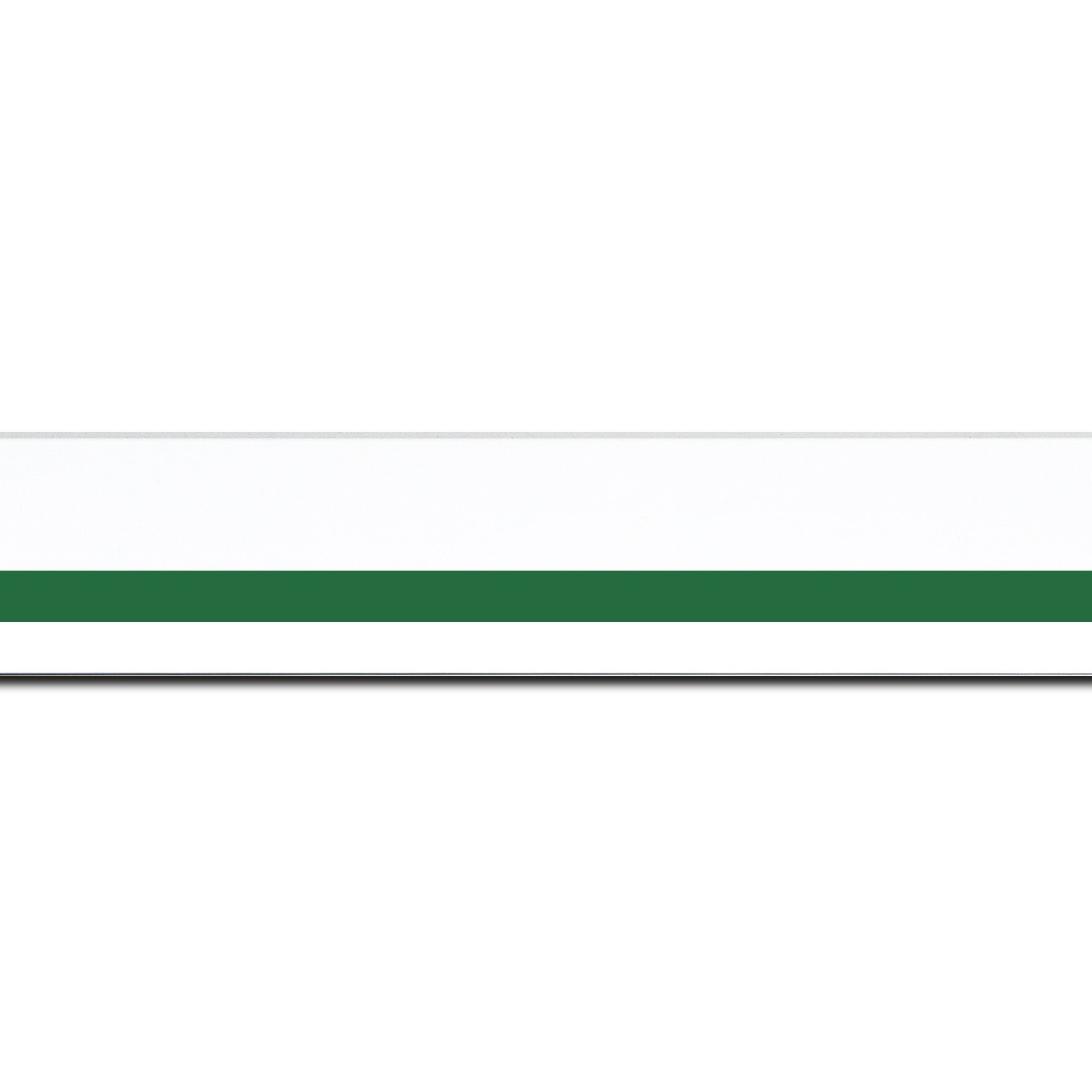 Baguette longueur 1.40m bois profil pente largeur 4.5cm de couleur blanc mat filet vert