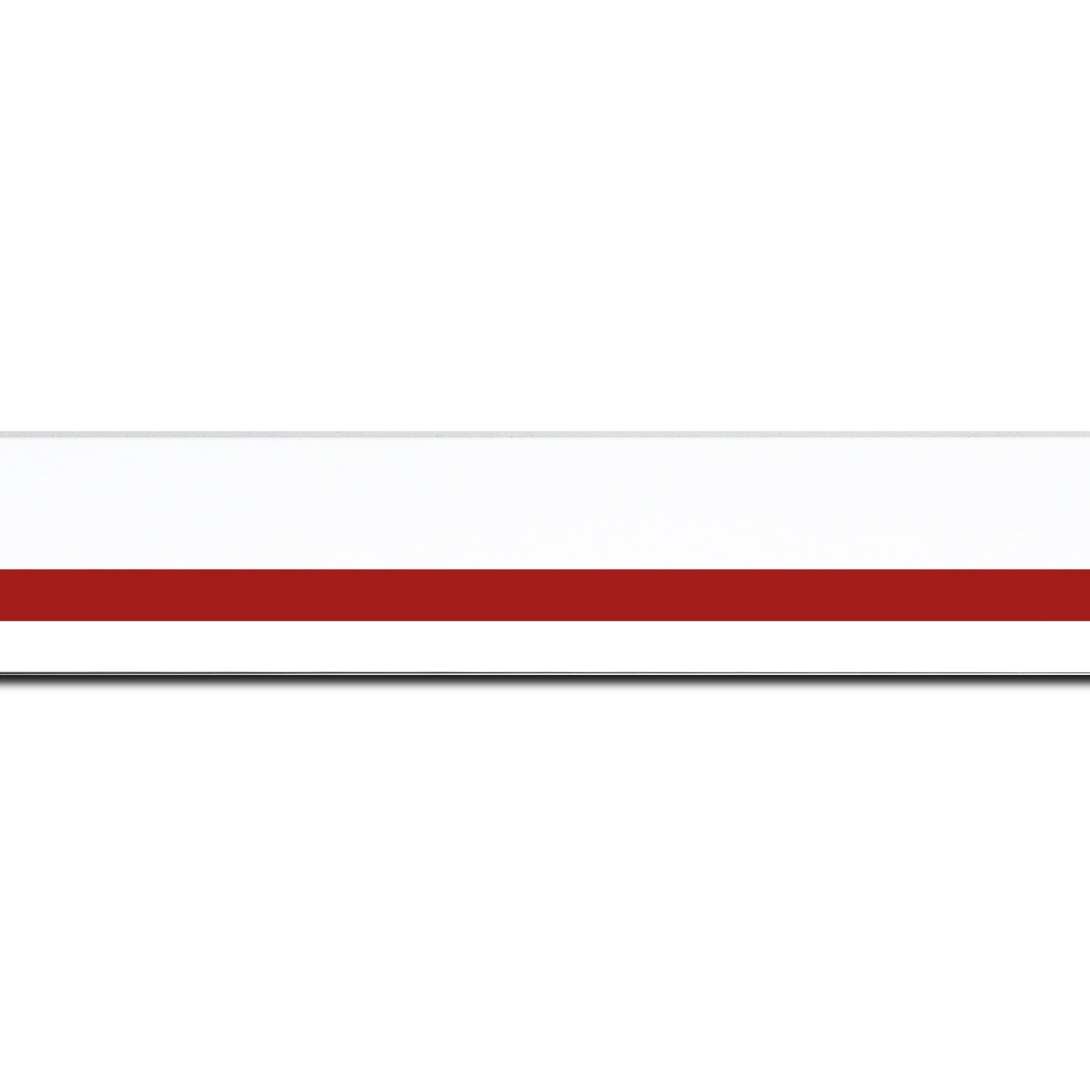 Pack par 12m, bois profil pente largeur 4.5cm de couleur blanc mat filet rouge (longueur baguette pouvant varier entre 2.40m et 3m selon arrivage des bois)