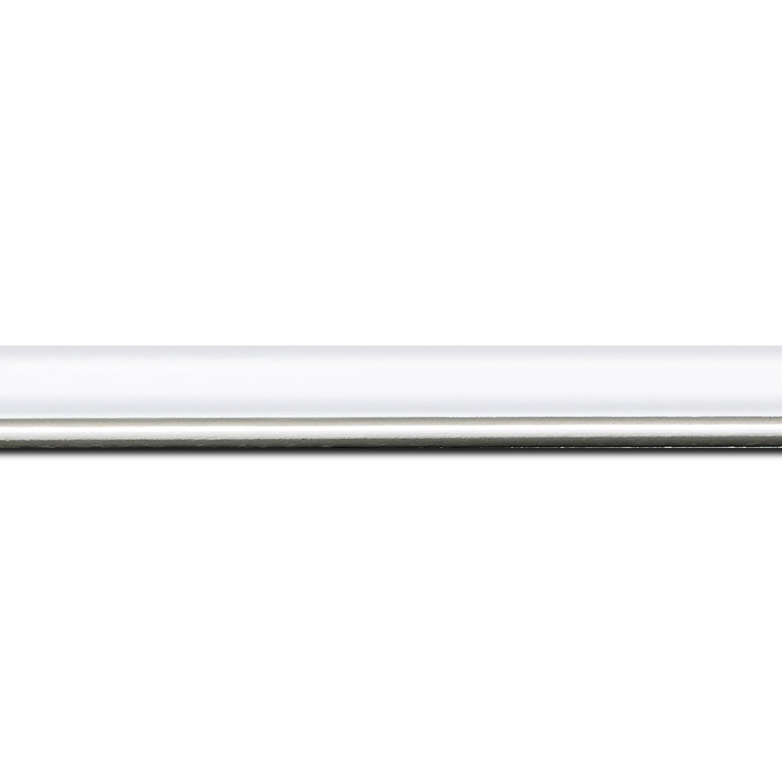 Pack par 12m, bois profil arrondi largeur 2.1cm couleur blanc mat filet argent (longueur baguette pouvant varier entre 2.40m et 3m selon arrivage des bois)