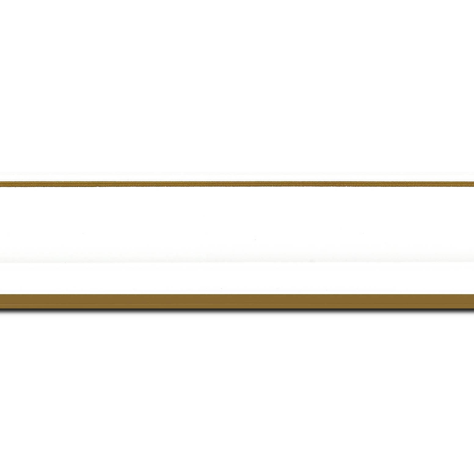 Baguette longueur 1.40m bois profil doucine inversée largeur 4.4cm  couleur blanc satiné filet or