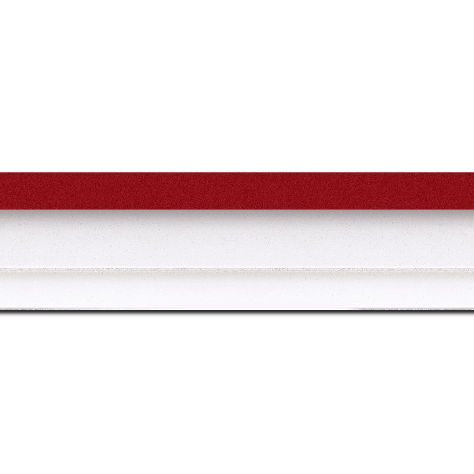 Pack par 12m, bois caisse américaine profil escalier largeur 4.4cm blanc mat filet rouge (spécialement conçu pour les châssis d'une épaisseur jusqu'à 2.5cm )(longueur baguette pouvant varier entre 2.40m et 3m selon arrivage des bois)