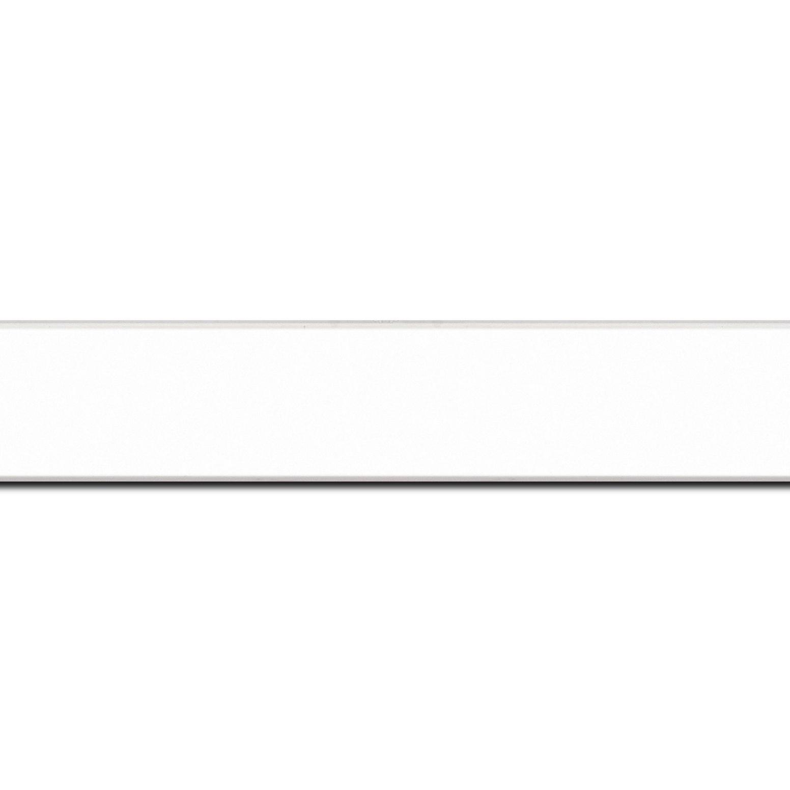 Pack par 12m, bois profil plat largeur 2.5cm hauteur 4.8cm couleur blanc mat finition pore bouché (hauteur feuillure 4.3cm )(longueur baguette pouvant varier entre 2.40m et 3m selon arrivage des bois)
