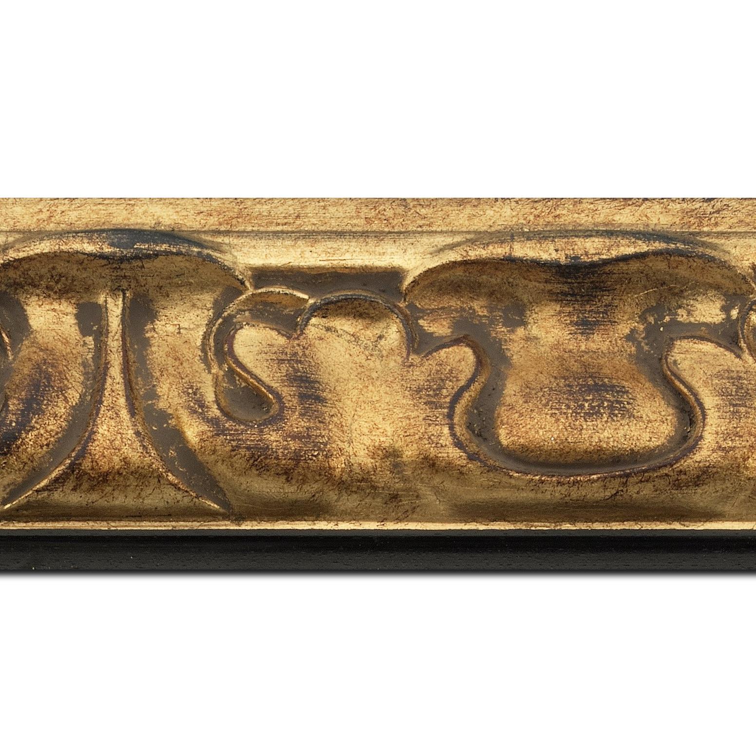Pack par 12m, bois profil doucine largeur 7.8cm or patiné nez couleur ébène  (longueur baguette pouvant varier entre 2.40m et 3m selon arrivage des bois)