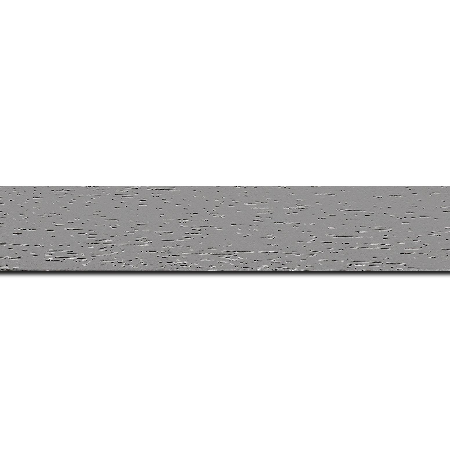 Baguette longueur 1.40m bois profil plat largeur 3cm couleur gris clair satiné