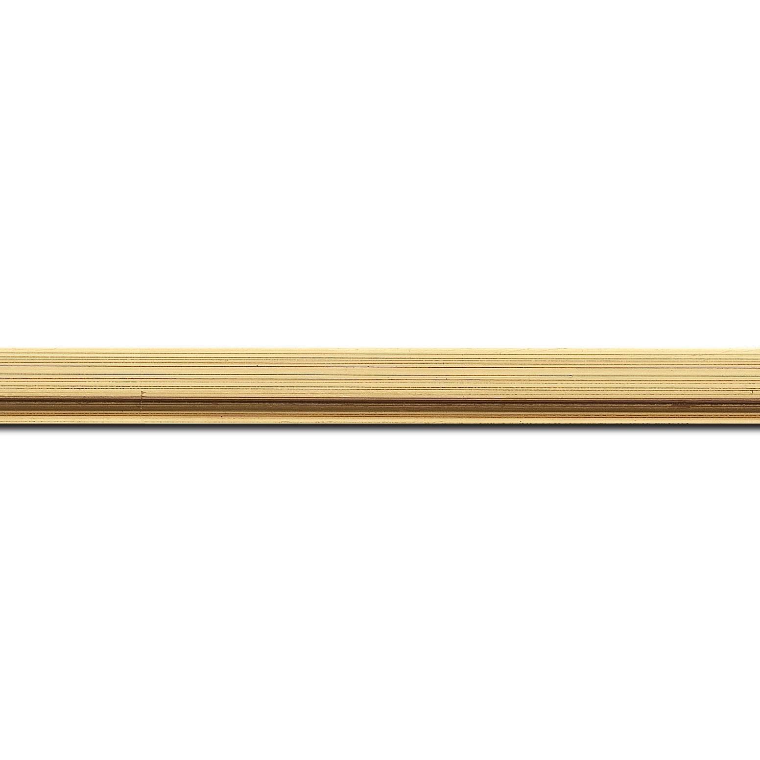 Pack par 12m, bois profil plat largeur 1.6cm or patiné à la feuille nez chanfrein (longueur baguette pouvant varier entre 2.40m et 3m selon arrivage des bois)