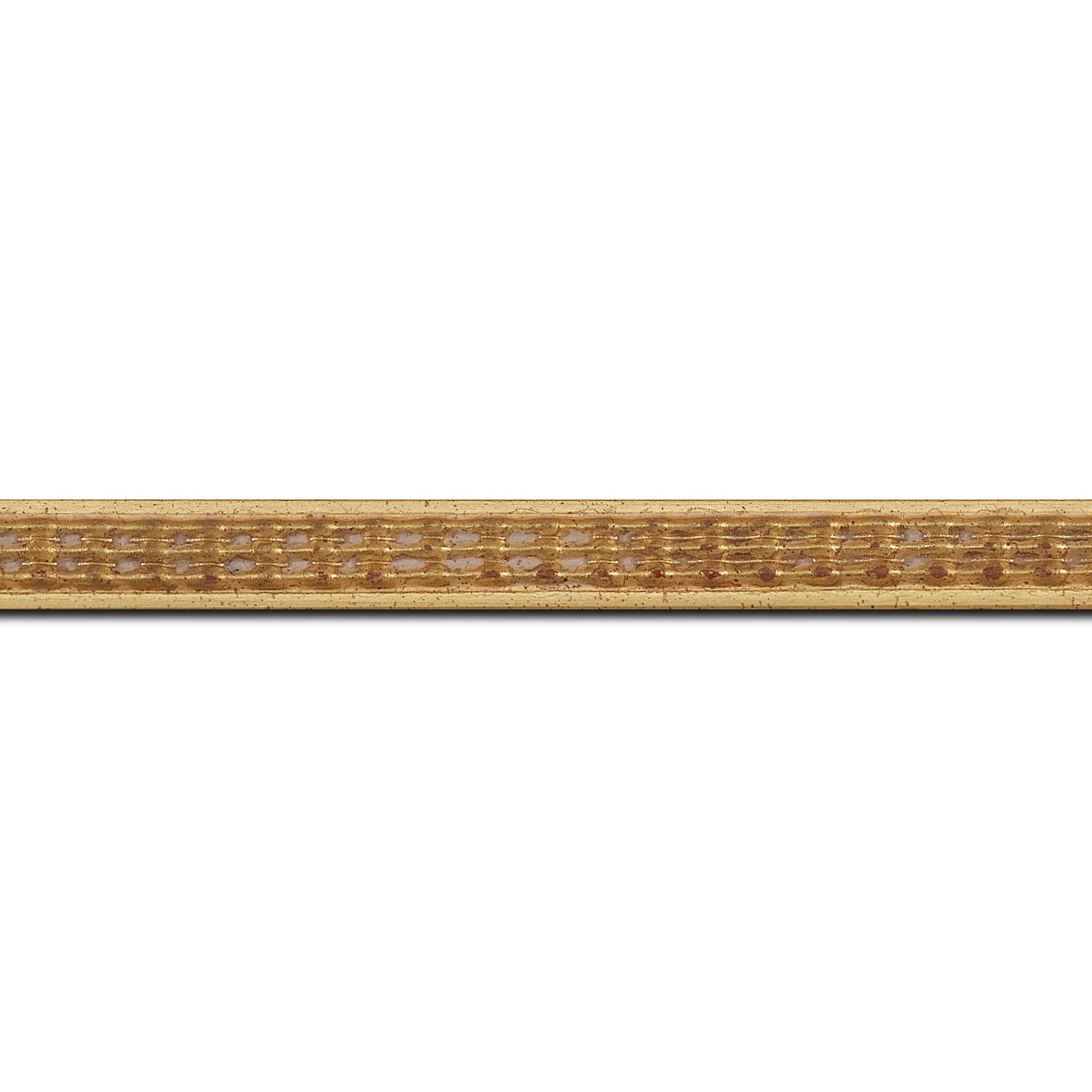 Baguette longueur 1.40m bois profil jonc largeur 1.5cm or style décor sillons