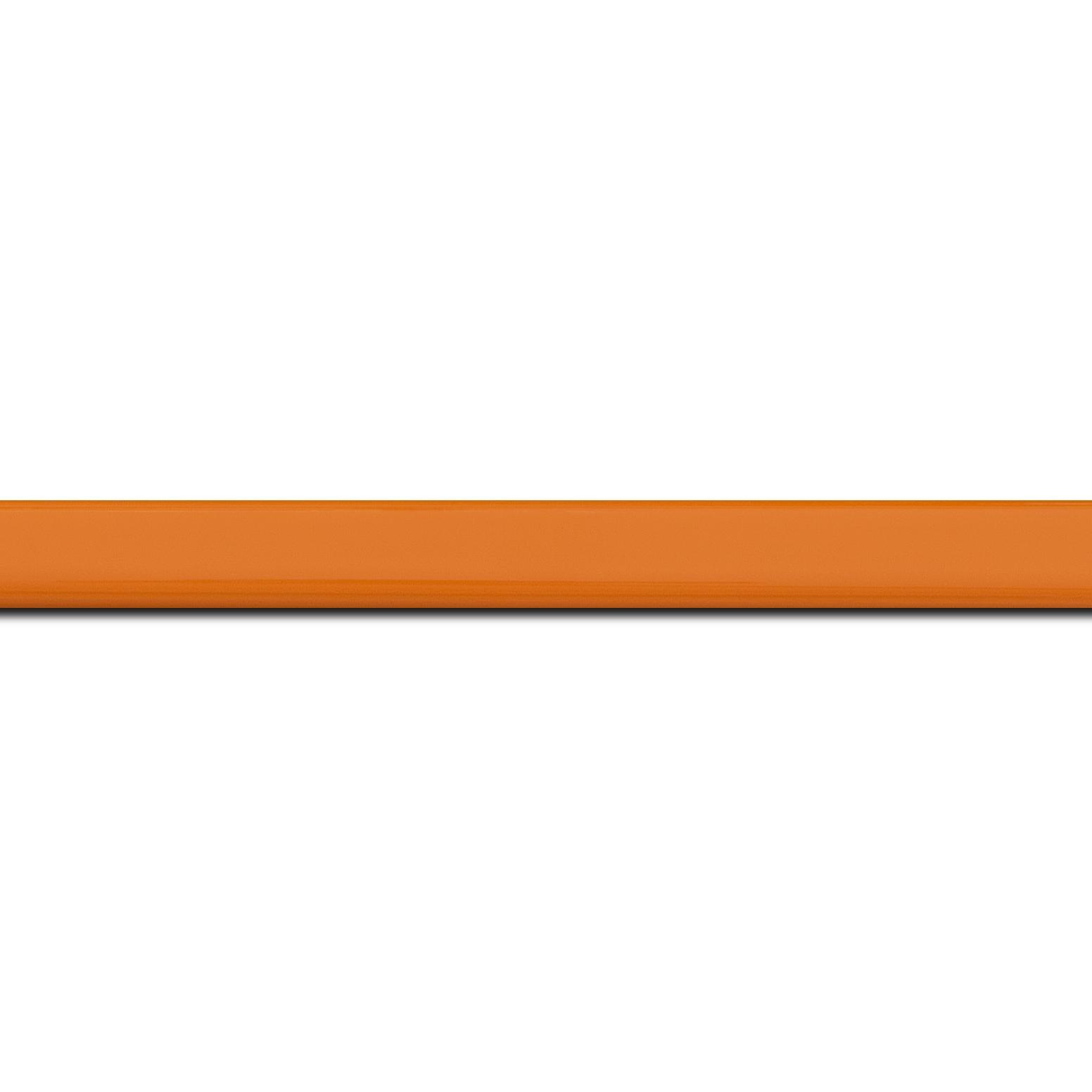 Pack par 12m, bois profil méplat largeur 1.4cm couleur orange laqué (longueur baguette pouvant varier entre 2.40m et 3m selon arrivage des bois)