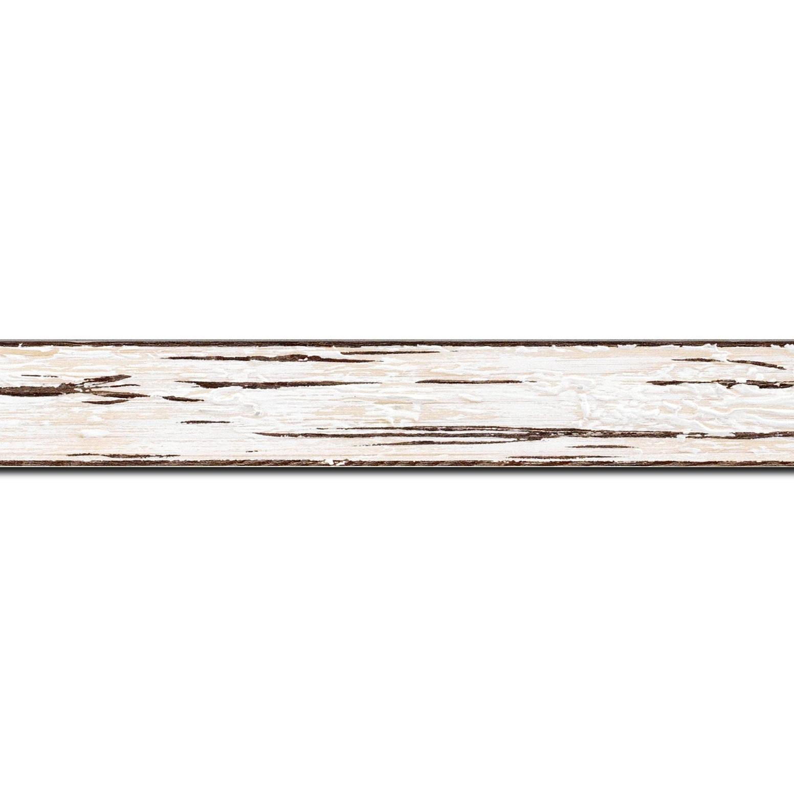 Baguette longueur 1.40m bois profil plat largeur 3.3cm couleur blanchie finition aspect vieilli antique