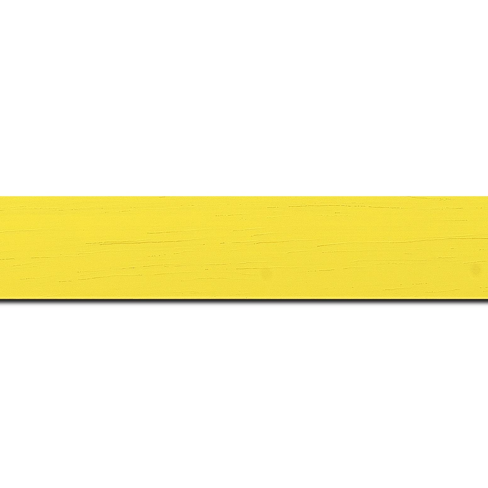 Pack par 12m, bois profil plat largeur 3cm couleur jaune tonique satiné (longueur baguette pouvant varier entre 2.40m et 3m selon arrivage des bois)