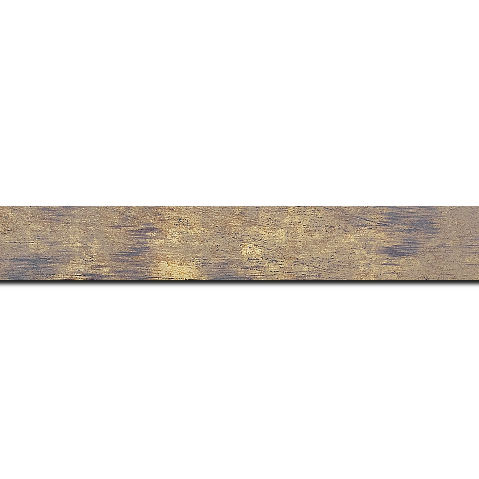 Pack par 12m, bois profil concave largeur 2.4cm de couleur terre patiné fond or(longueur baguette pouvant varier entre 2.40m et 3m selon arrivage des bois)