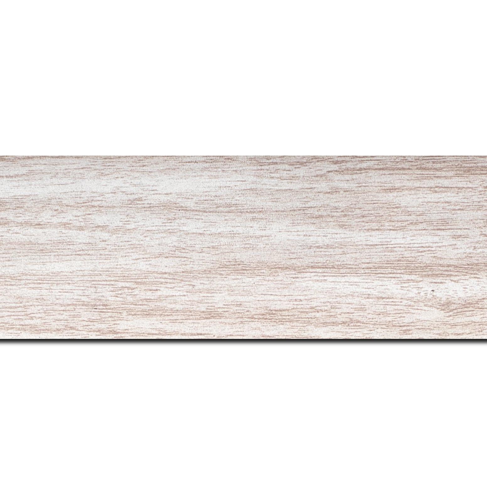 Baguette longueur 1.40m bois profil plat largeur 6cm blanc satiné effet veiné ,chant extérieur du cadre de couleur noire