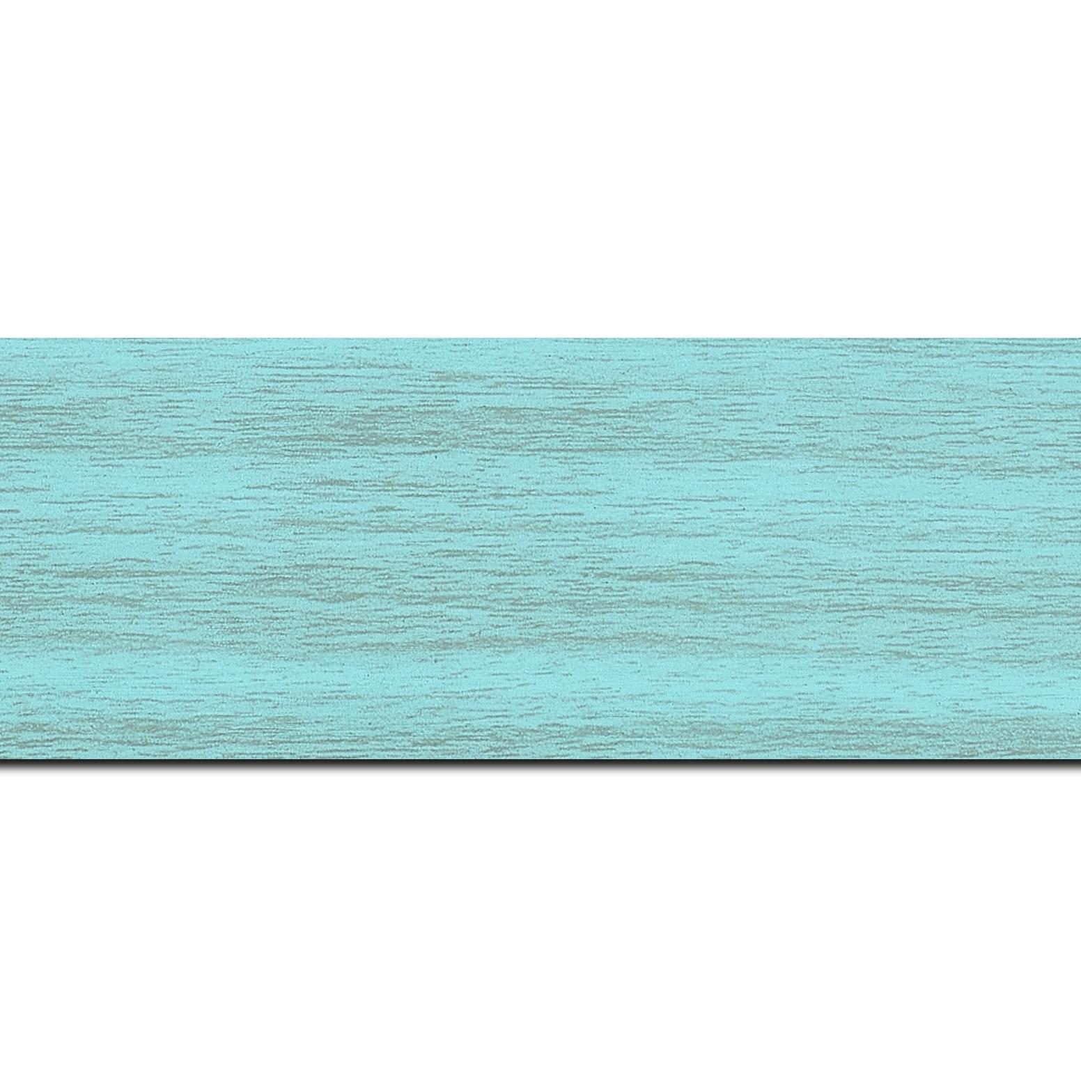 Baguette longueur 1.40m bois profil plat largeur 6cm turquoise satiné effet veiné ,chant extérieur du cadre de couleur noire