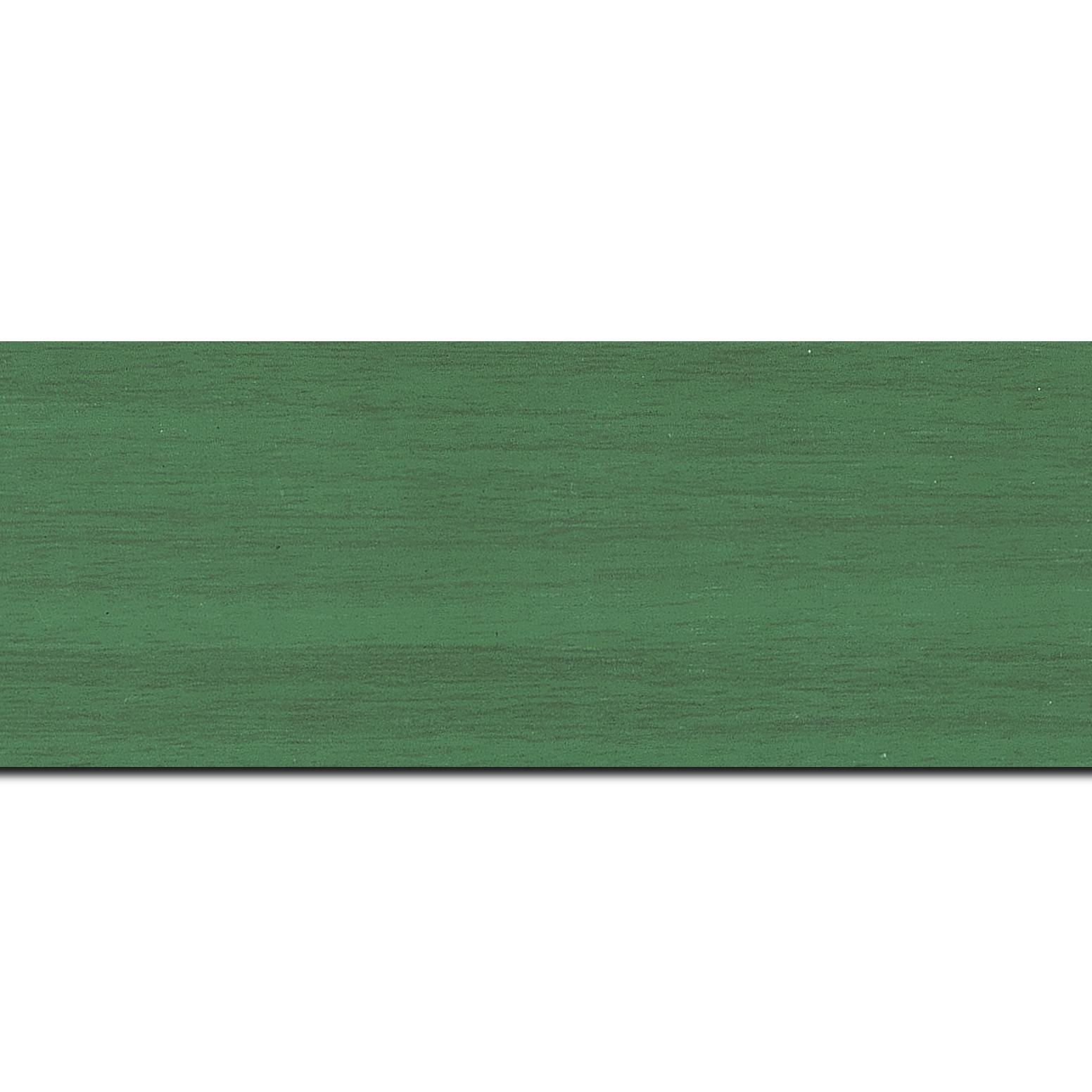 Baguette longueur 1.40m bois profil plat largeur 6cm vert satiné effet veiné ,chant extérieur du cadre de couleur noire